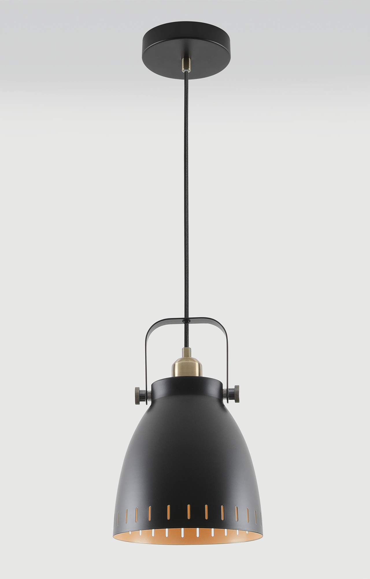 Medium Pendant, 1 x E27, Matt Black/Antique Brass/Khaki