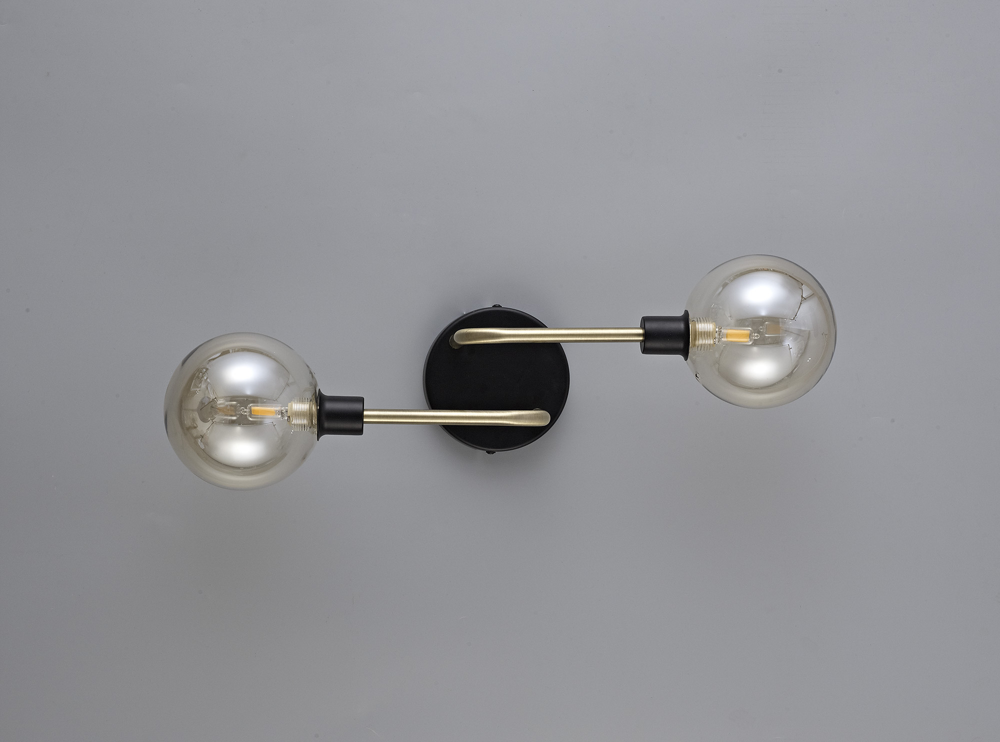 Wall Lamp, 2 Light G9, Matt Black/Antique Brass/Cognac Glass