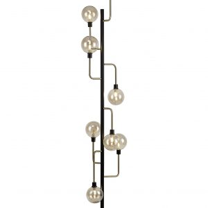 Floor Lamp, 8 Light G9, Matt Black/Antique Brass/Cognac Glass