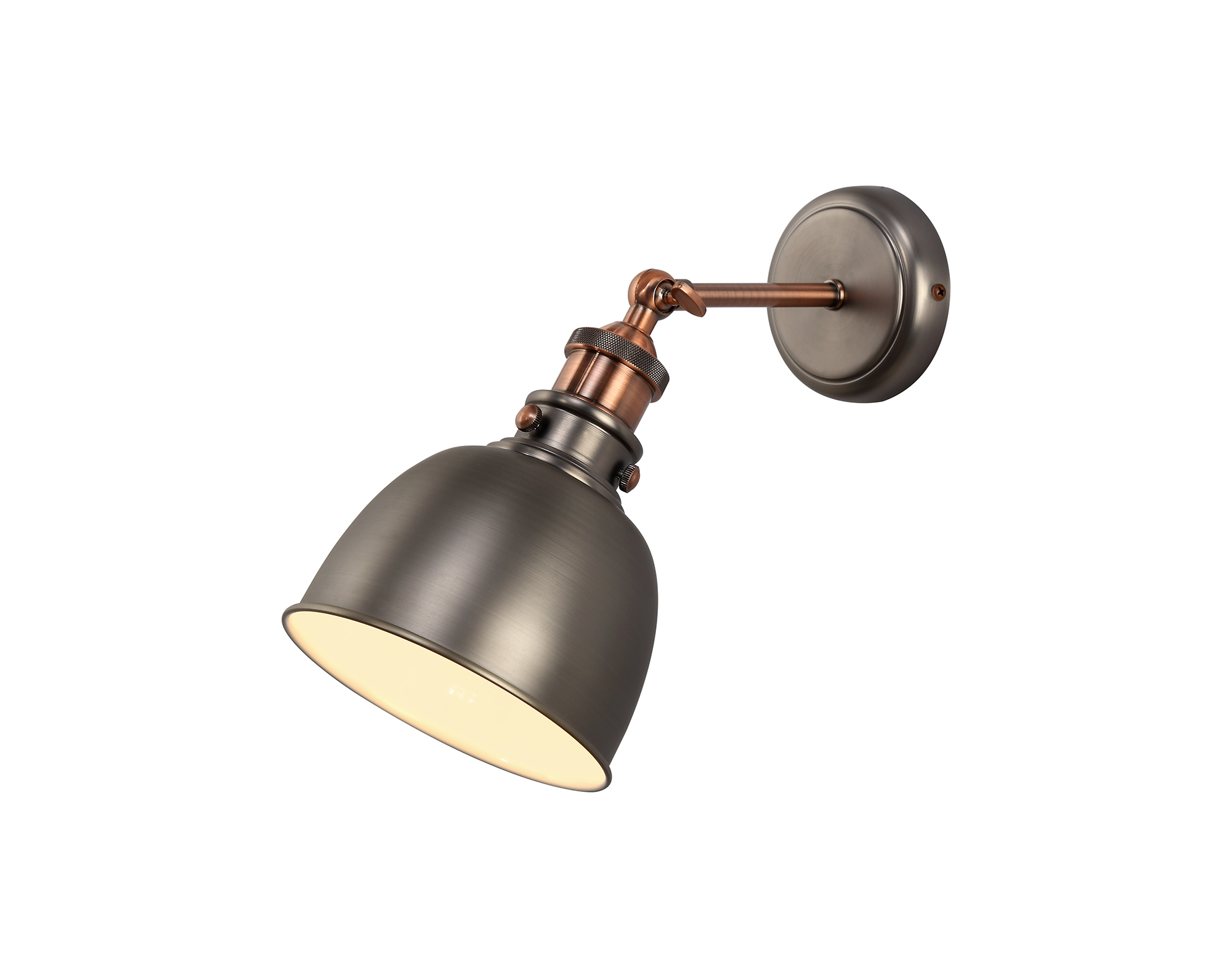 Adjustable Wall Lamp, 1 x E27, Antique Silver/Copper/White
