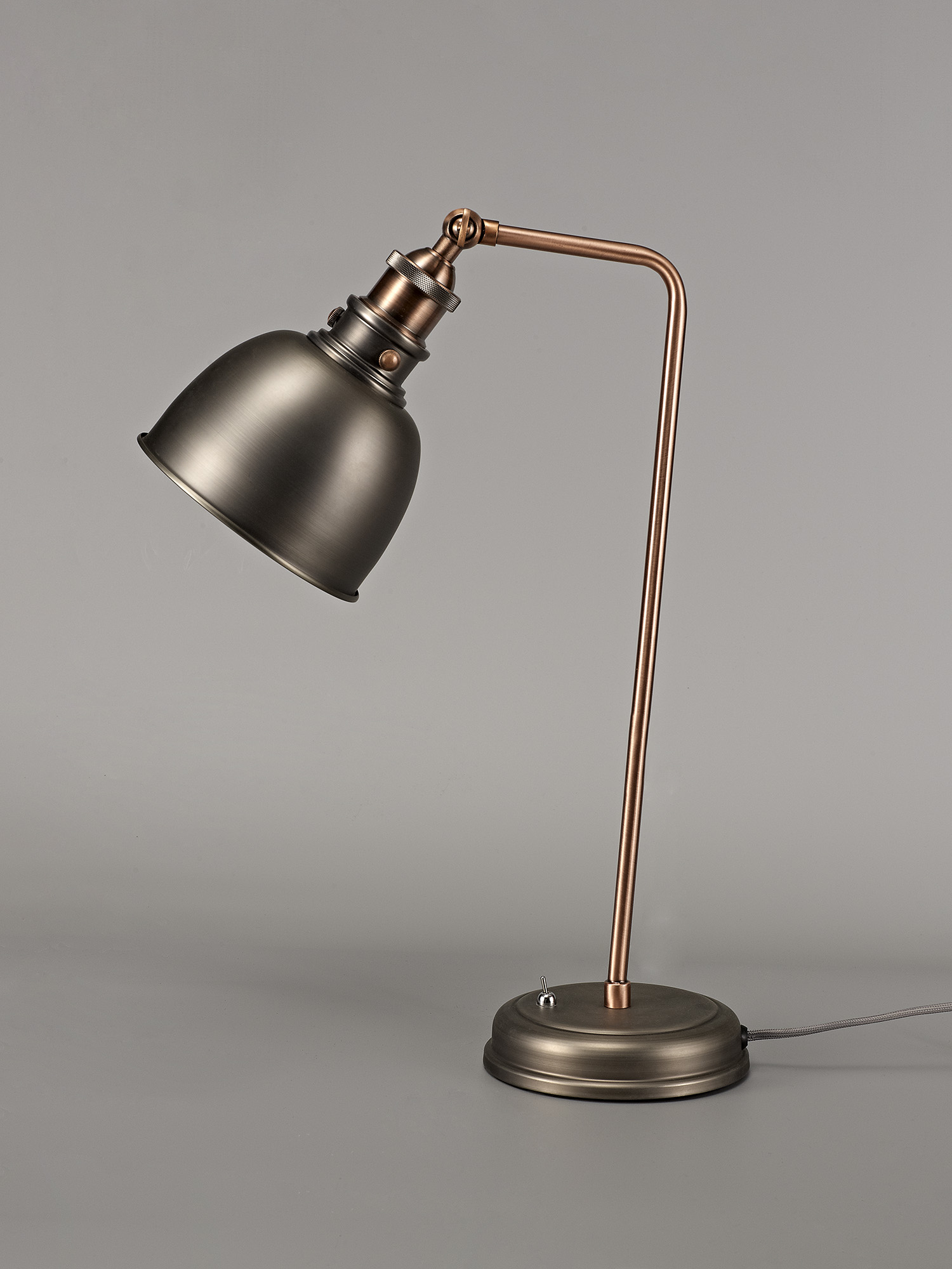 Adjustable Table Lamp, 1 x E27, Antique Silver/Copper/White