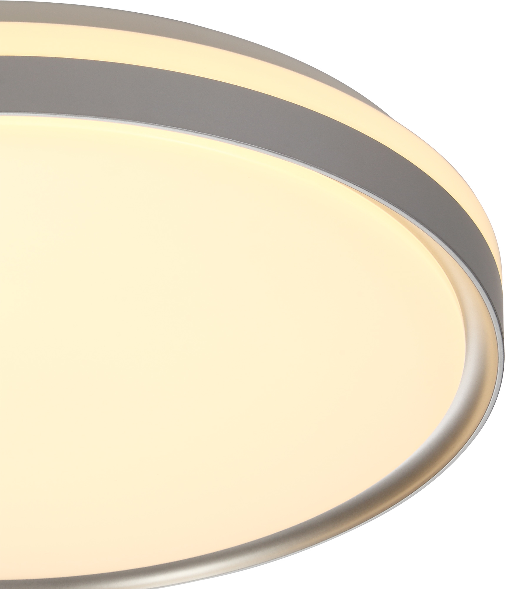 Ceiling 48cm, 1 x 36W LED 3 Step-Dimmable, 3000K, 1575lm, IP44, Silver/White Acrylic, 3yrs Warranty