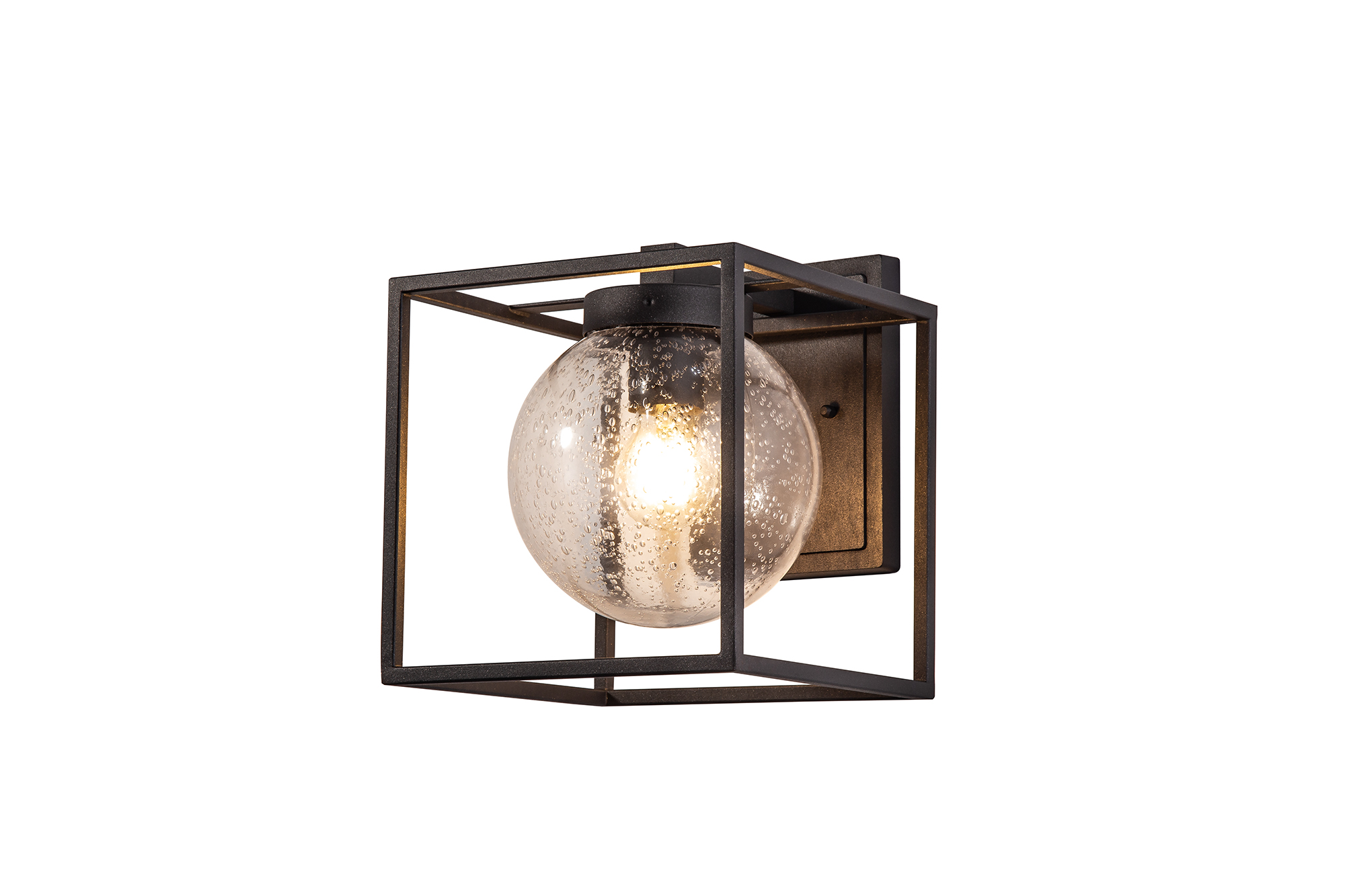 Down Wall Lamp, 1 x E27, IP54, Anthracite/Clear Seeded Glass, 2yrs Warranty