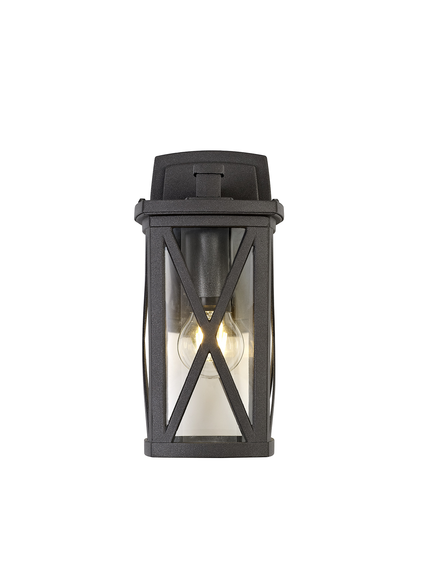 Down Criss Cross Wall Lamp, 1 x E27, IP54, Anthracite/Clear Glass, 2yrs Warranty