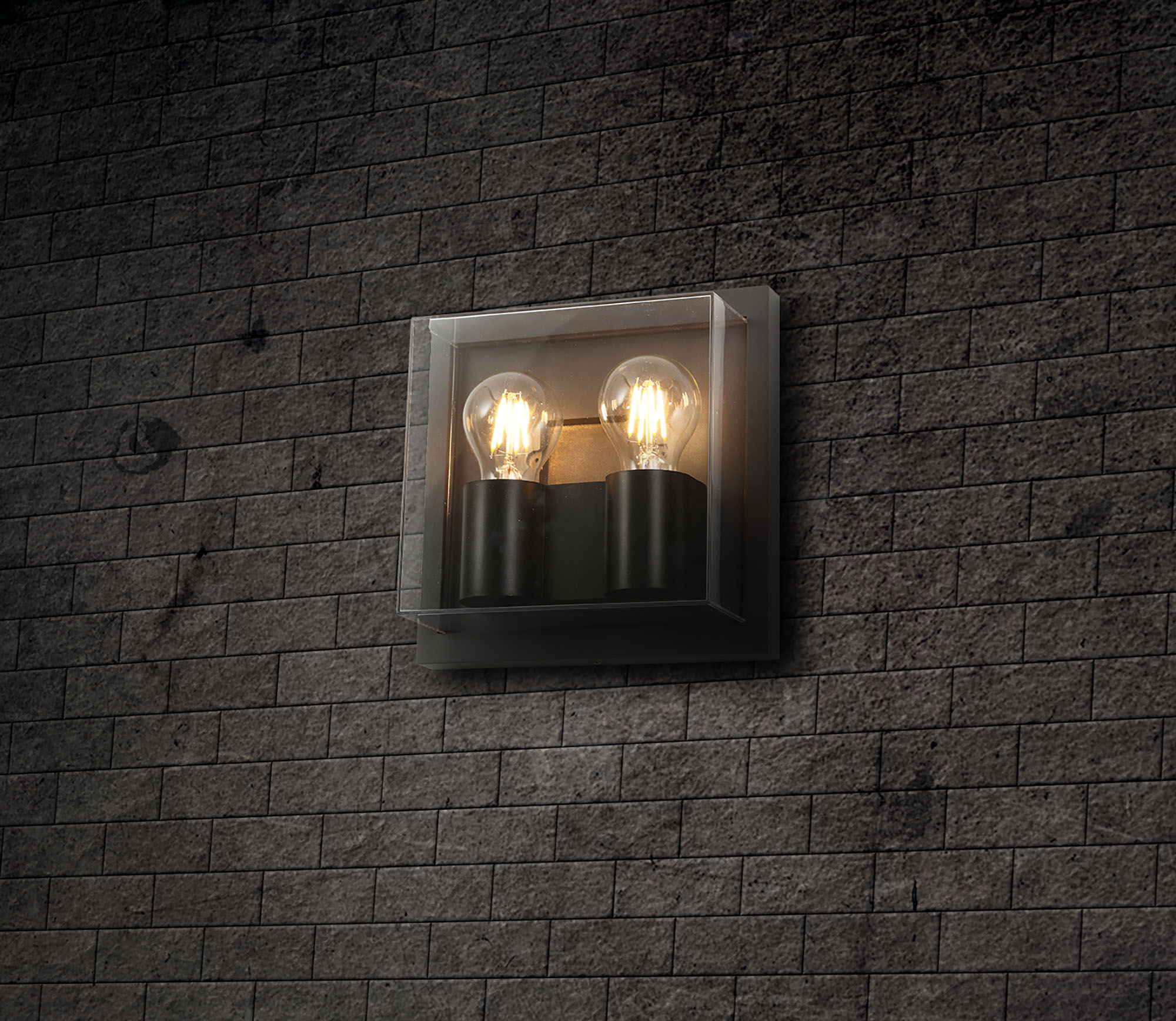 Wall Lamp, 2 x E27, IP65, Anthracite/Clear PC, 2yrs Warranty