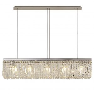 102x9cm Linear Pendant Chandelier, 5 Light E14