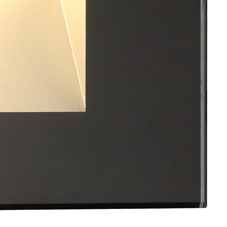Recessed Rectangle Glass Fronted Wall Lamp, 1 x 3.3W LED, 3000K, 145lm, IP65, 3yrs Warranty