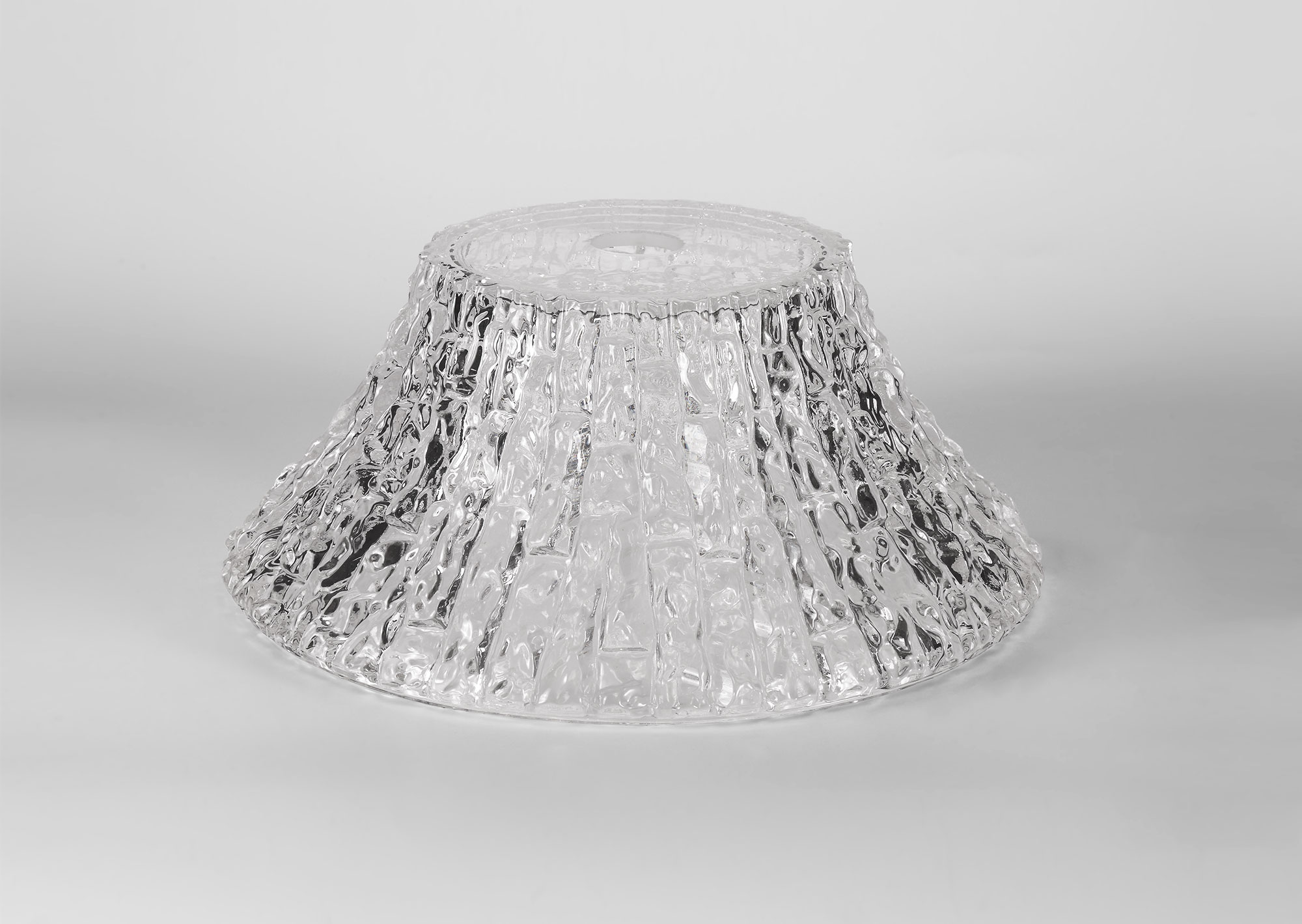 Round 38cm Patterned Clear Glass Lampshade