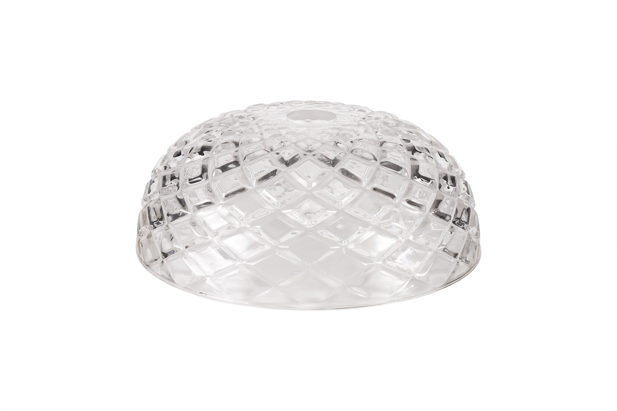 Flat Round 30cm Patterned Clear Glass Lampshade