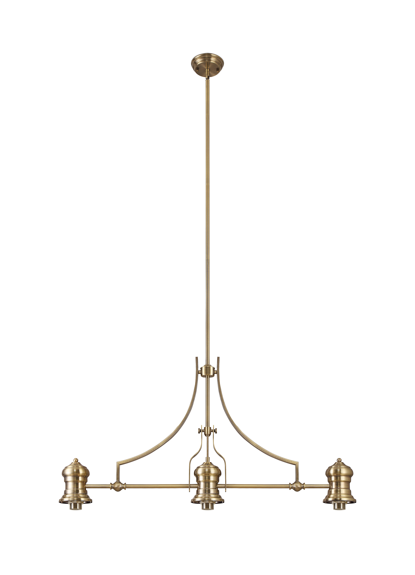 3 Light Linear Pendant E27 With 30cm Tiffany Shade, Antique Brass, Amber, C, Crystal
