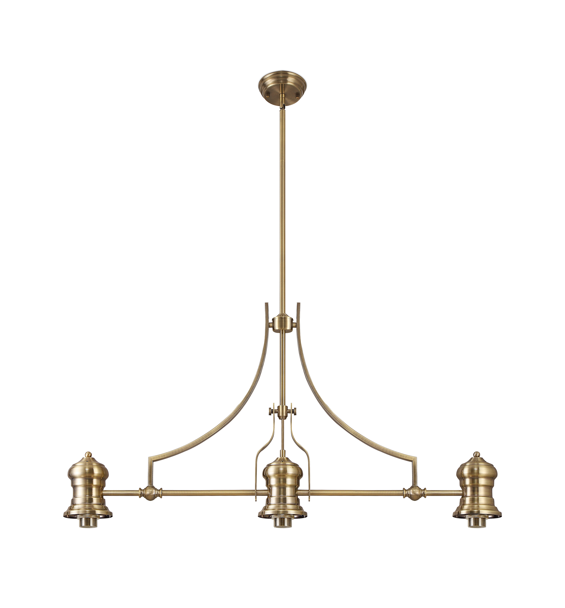 Frame Only Linear Pendant, 3 x E27, Antique Brass