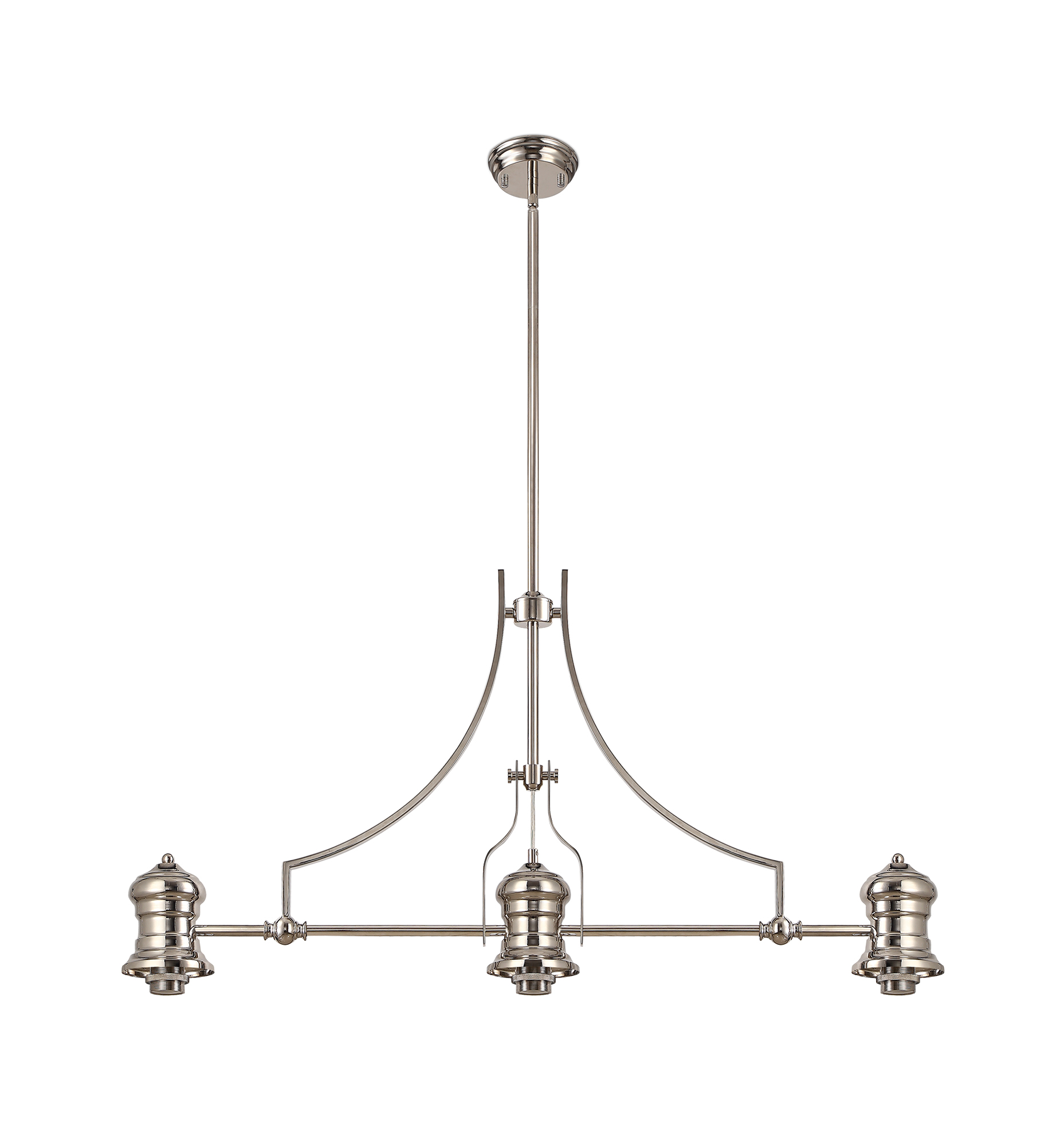 Frame Only Linear Pendant, 3 x E27, Polished Nickel