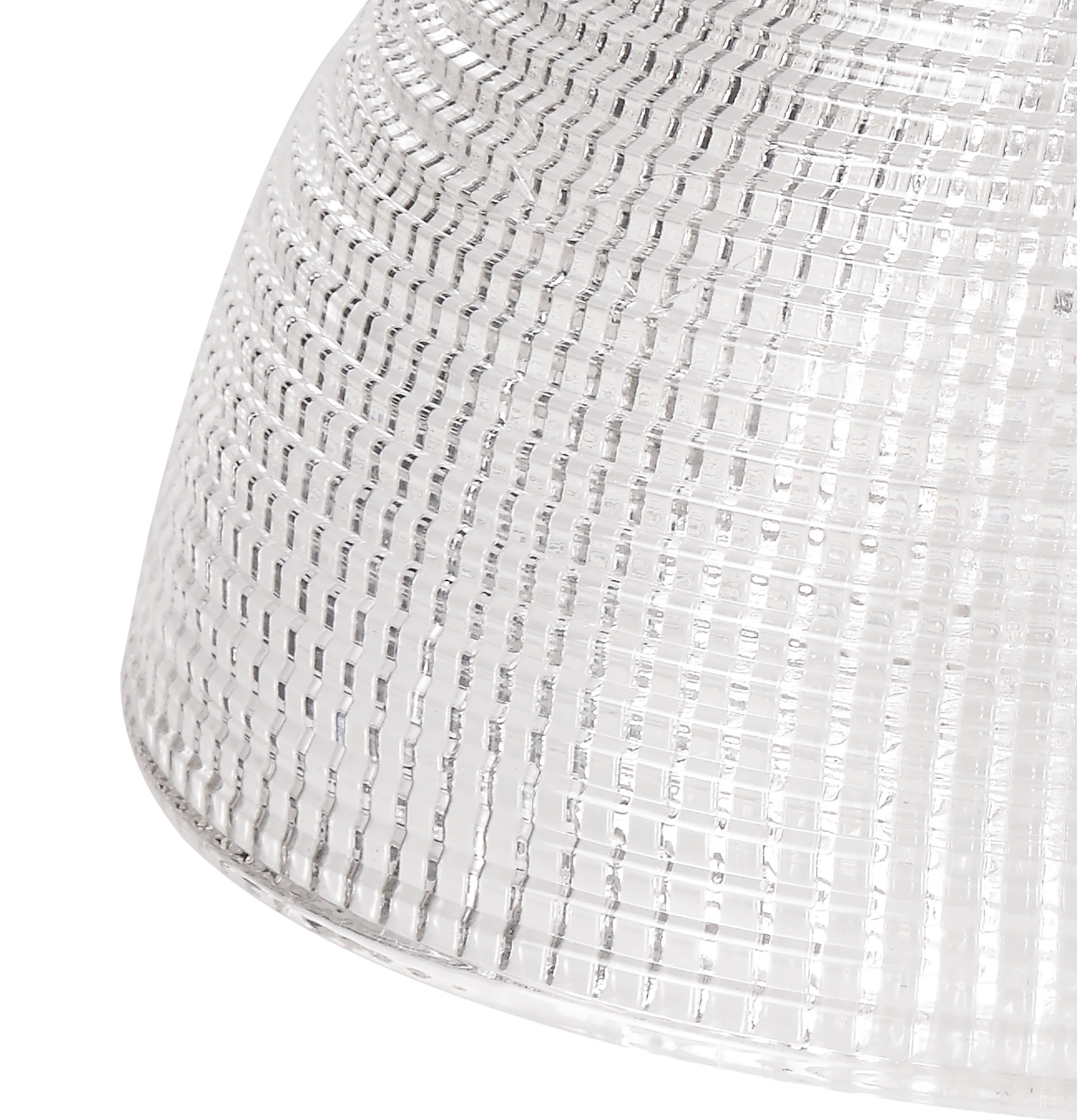 Round 30cm Prismatic Effect Clear Glass Lampshade