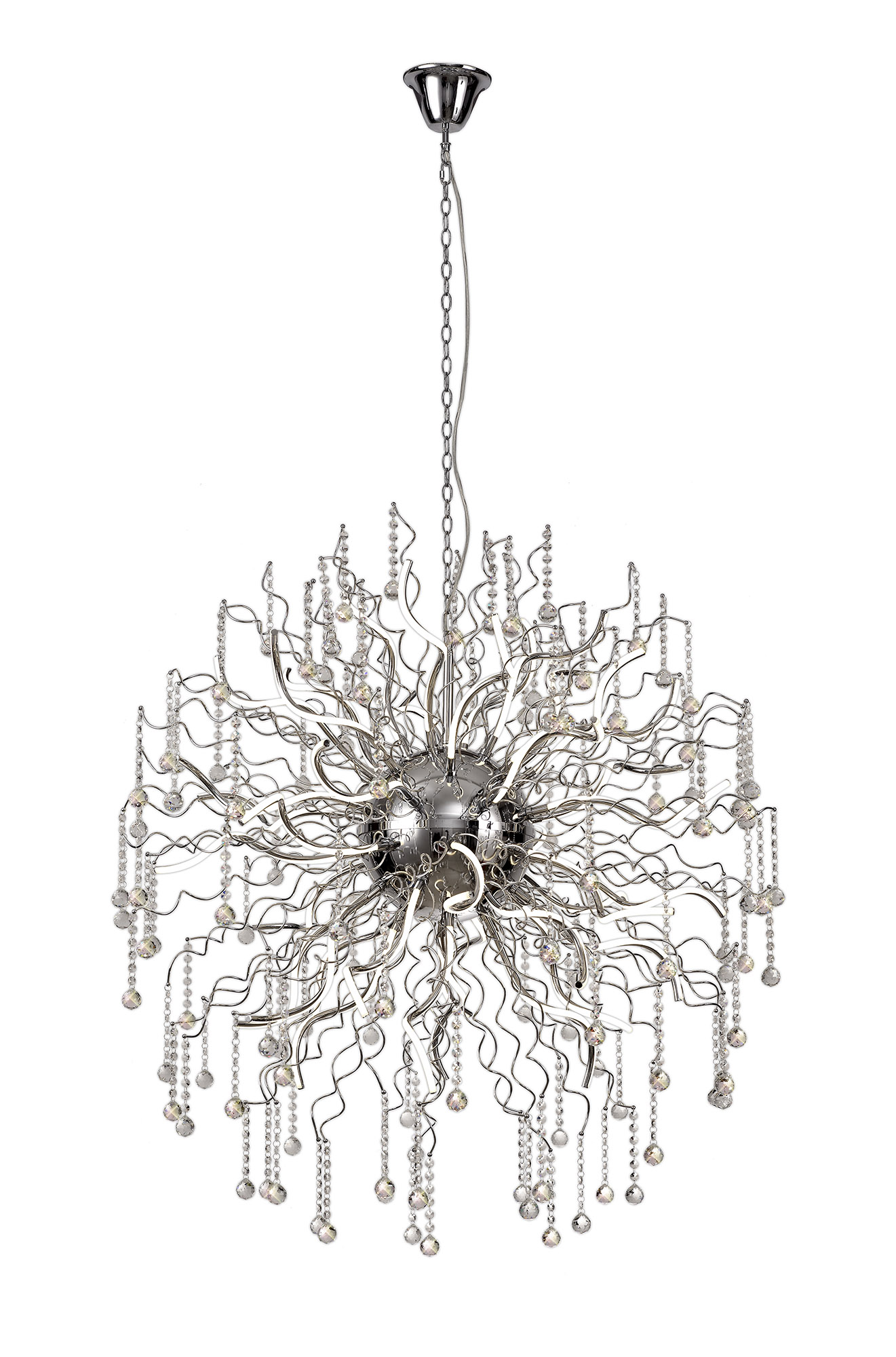 Dimmable Pendant, 40 x 3.4W LED, 3000K, 10500lm, Polished Chrome, 3yrs Warranty
