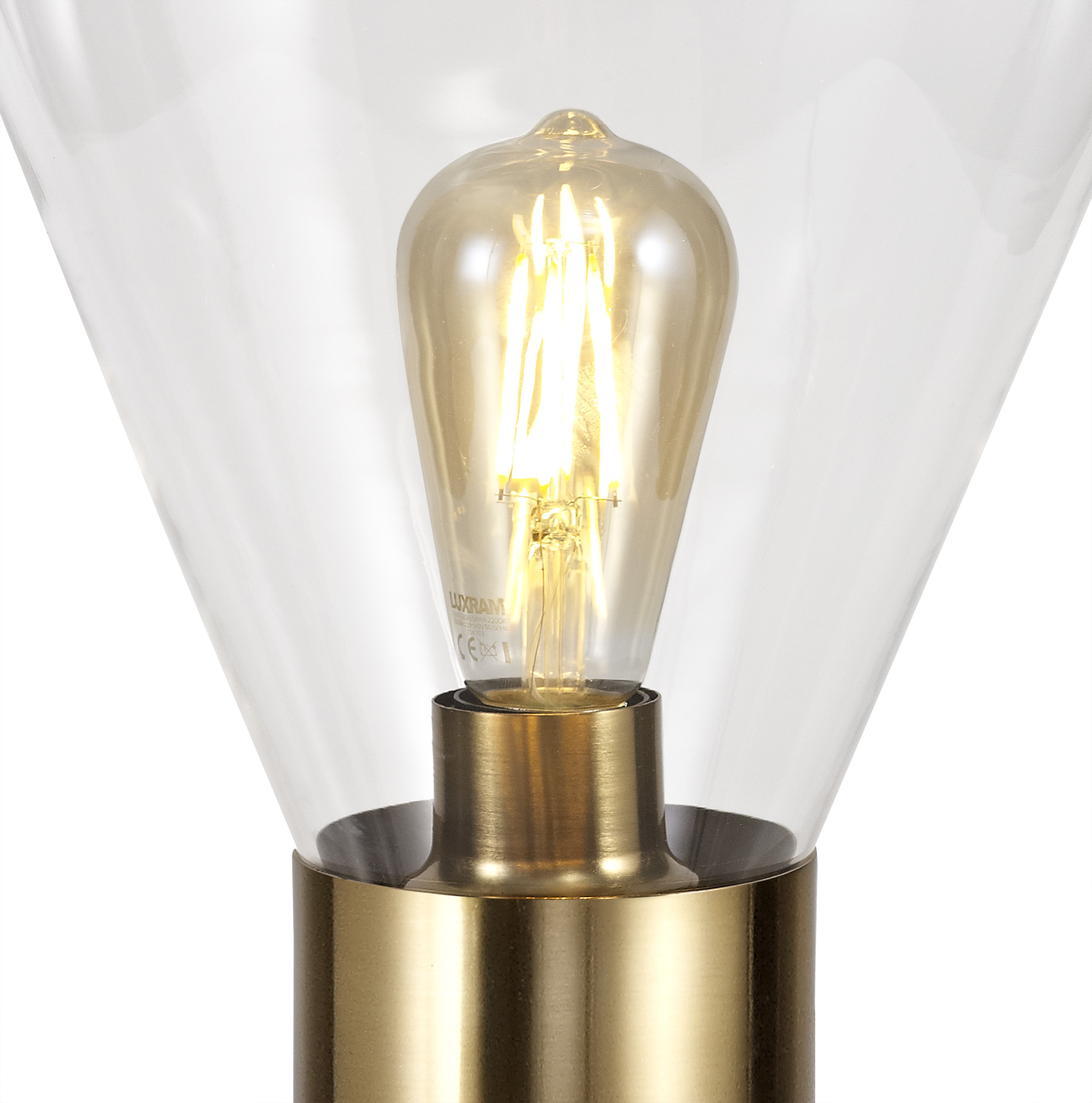 Narrow Table Lamp, 1 x E27, Ancient Brass/Clear Glass