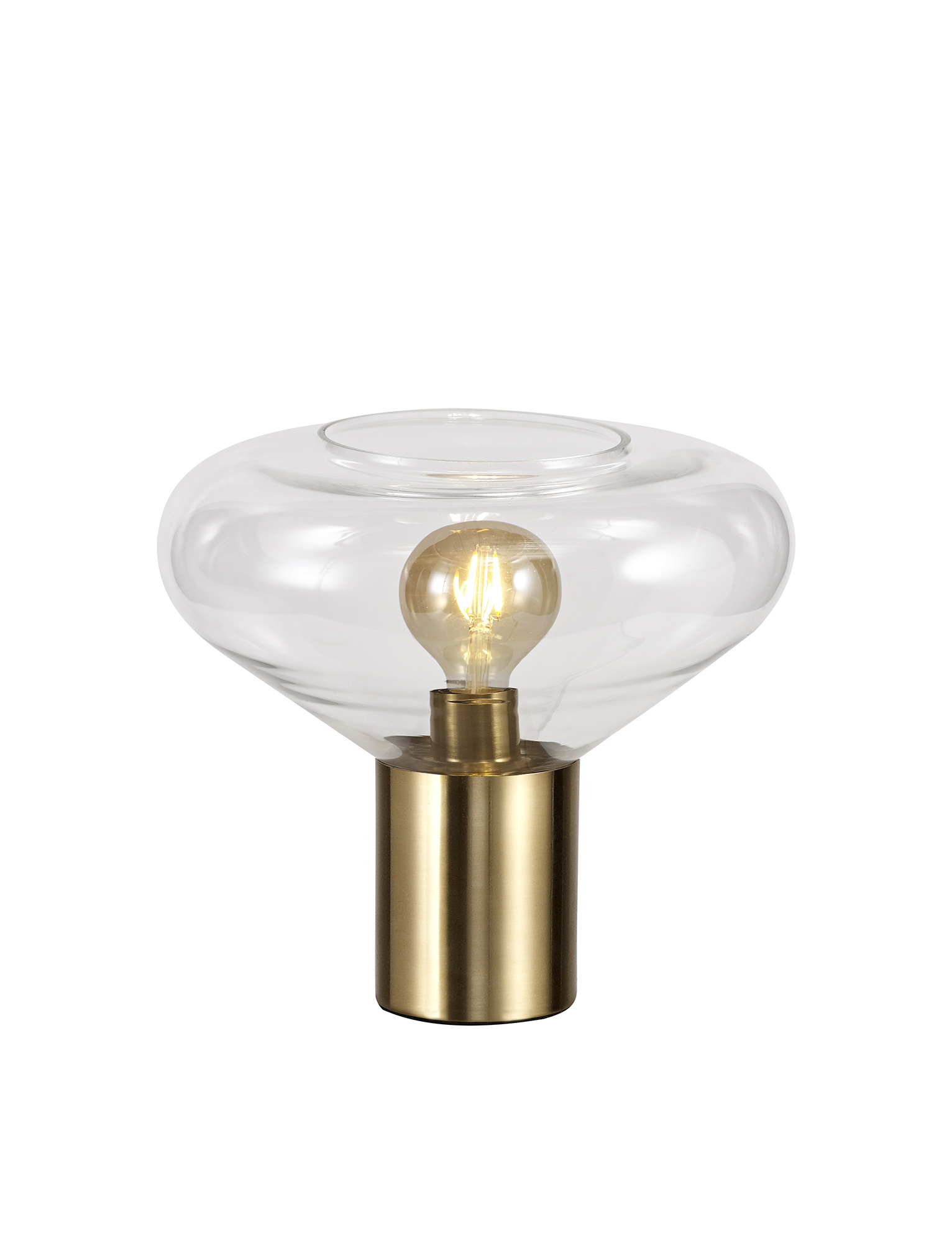 Wide Table Lamp, 1 x E27, Ancient Brass/Clear Glass