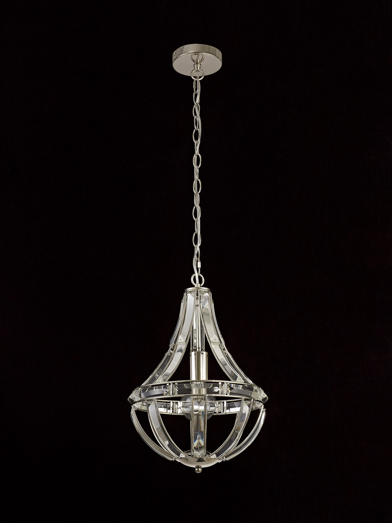 Teardrop Pendant, 1 Light E27, Polished Nickel