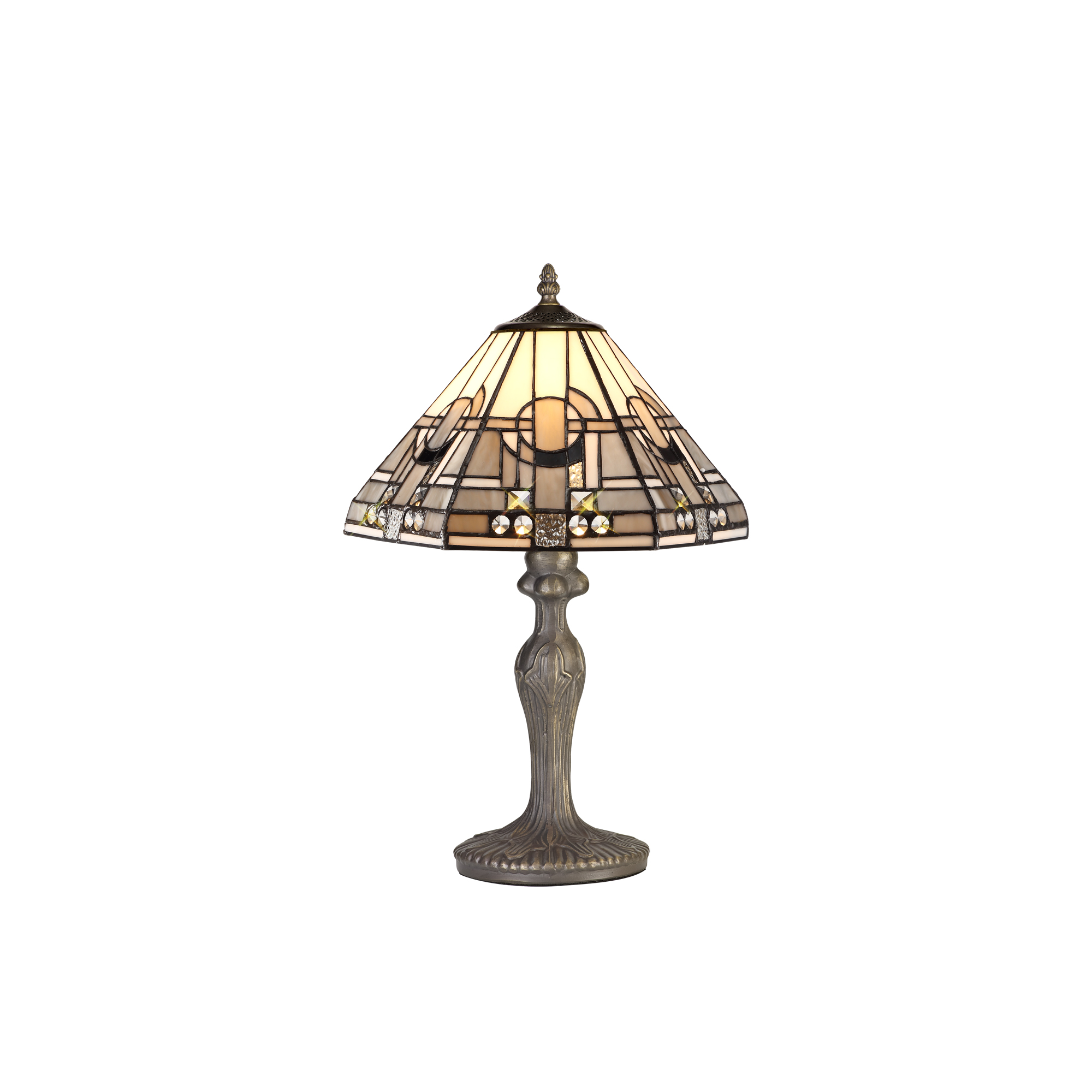 1 Light Curved Table Lamp E27 With 30cm Tiffany Shade, White/Grey/Black/Clear Crystal/Aged Antique Brass