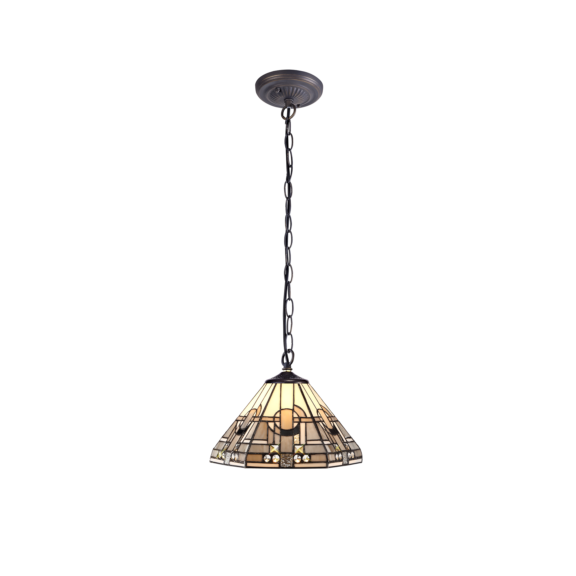 1 Light Downlighter Pendant E27 With 30cm Tiffany Shade, White/Grey/Black/Clear Crystal/Aged Antique Brass