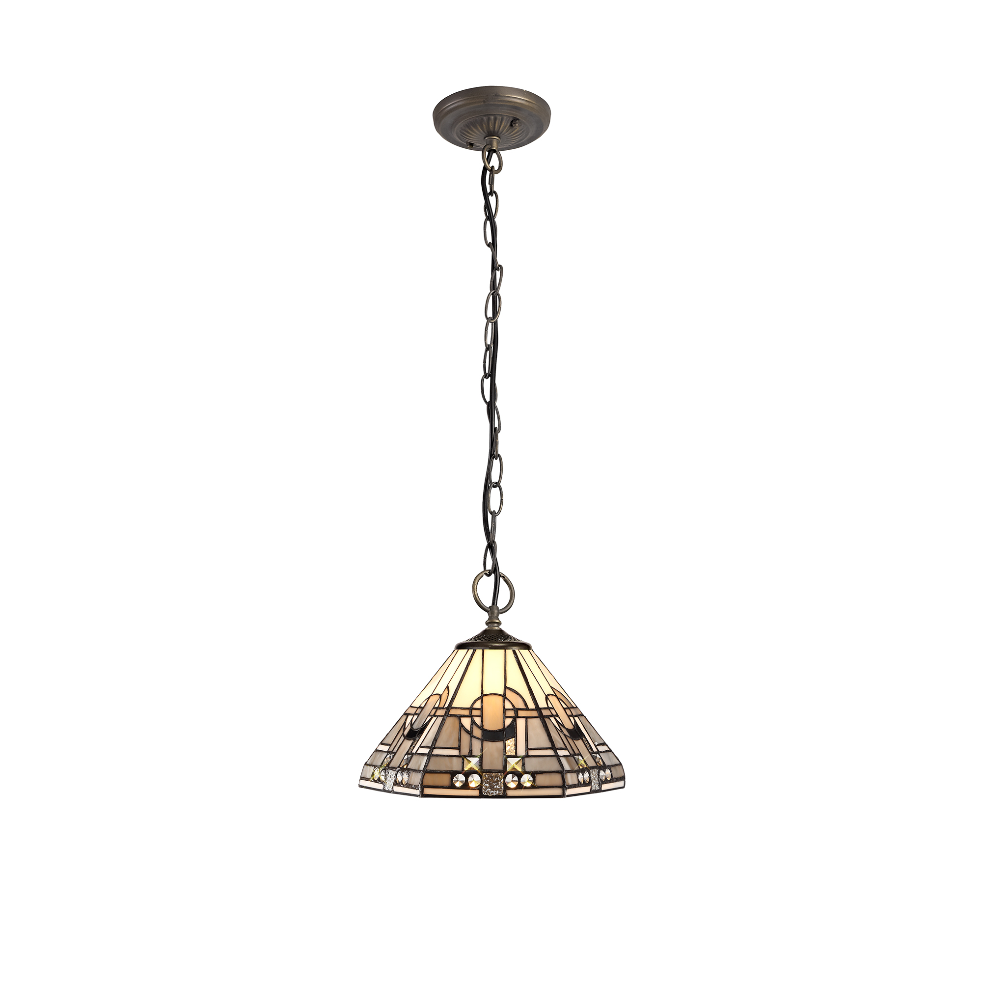 3 Light Downlighter Pendant E27 With 30cm Tiffany Shade, White/Grey/Black/Clear Crystal/Aged Antique Brass