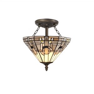 2 Light E27 Semi Ceiling With Tiffany Shade 30cm Shade, White/Grey/Black/Clear Crystal/Aged Antique Brass