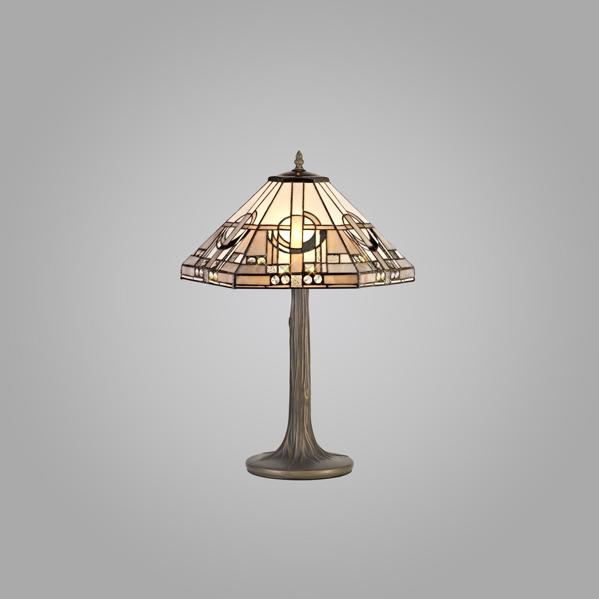 2 Light Tree Like Table Lamp E27 With 40cm Tiffany Shade, White/Grey/Black/Clear Crystal/Aged Antique Brass