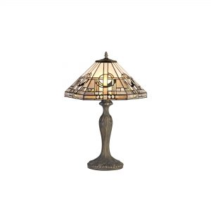 2 Light Curved Table Lamp E27 With 40cm Tiffany Shade, White/Grey/Black/Clear Crystal/Aged Antique Brass