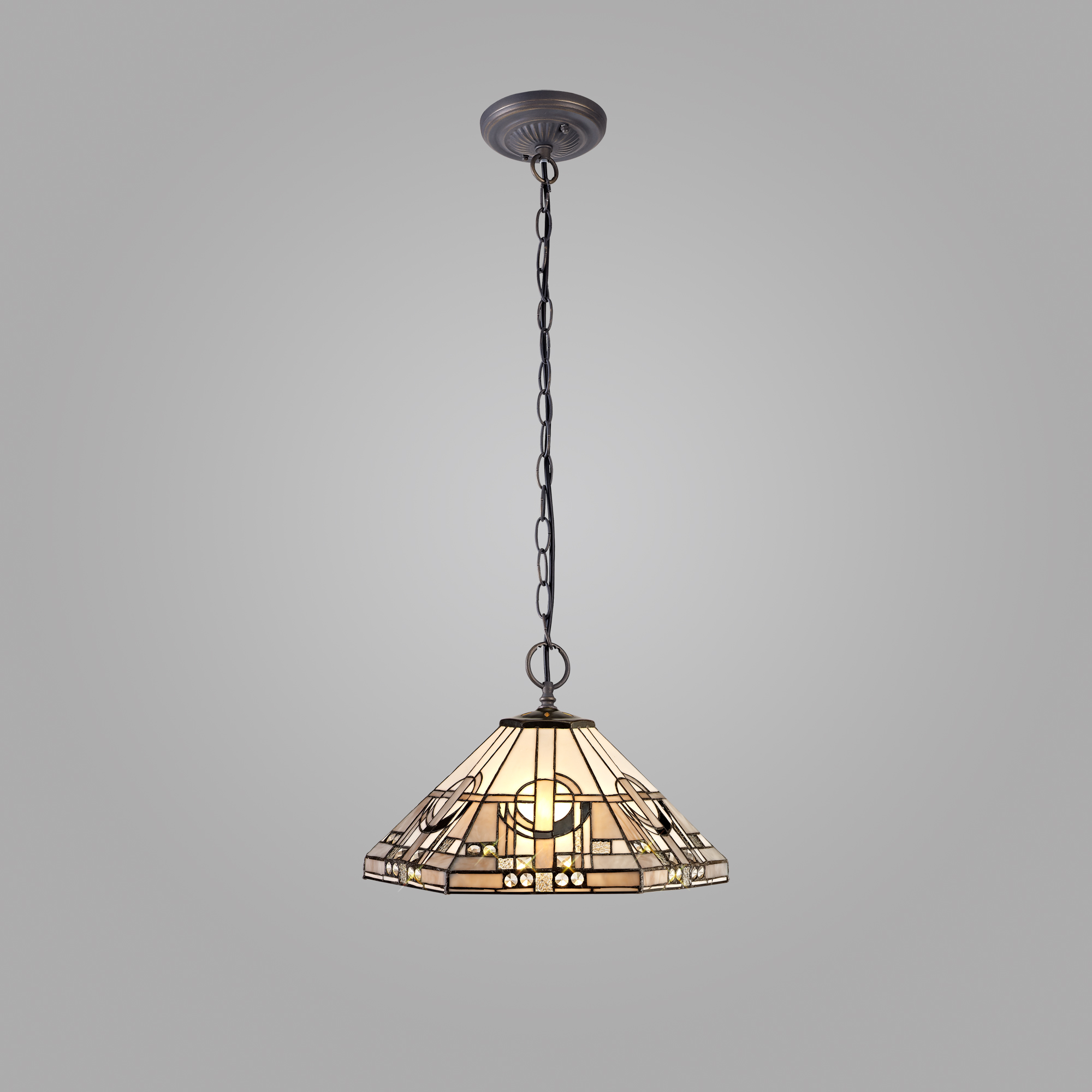 2 Light Downlighter Pendant E27 With 40cm Tiffany Shade, White/Grey/Black/Clear Crystal/Aged Antique Brass