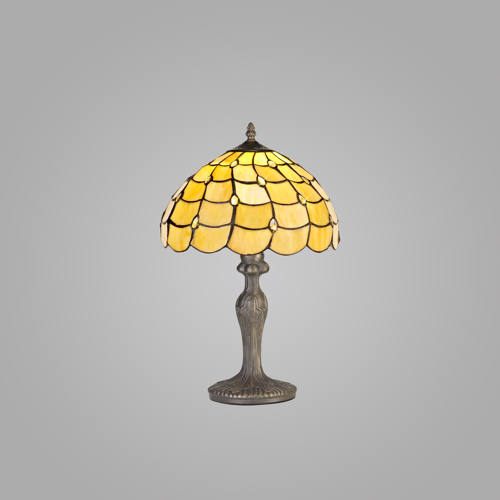 1 Light Curved Table Lamp E27 With 30cm Tiffany Shade, Beige/Clear Crystal/Aged Antique Brass