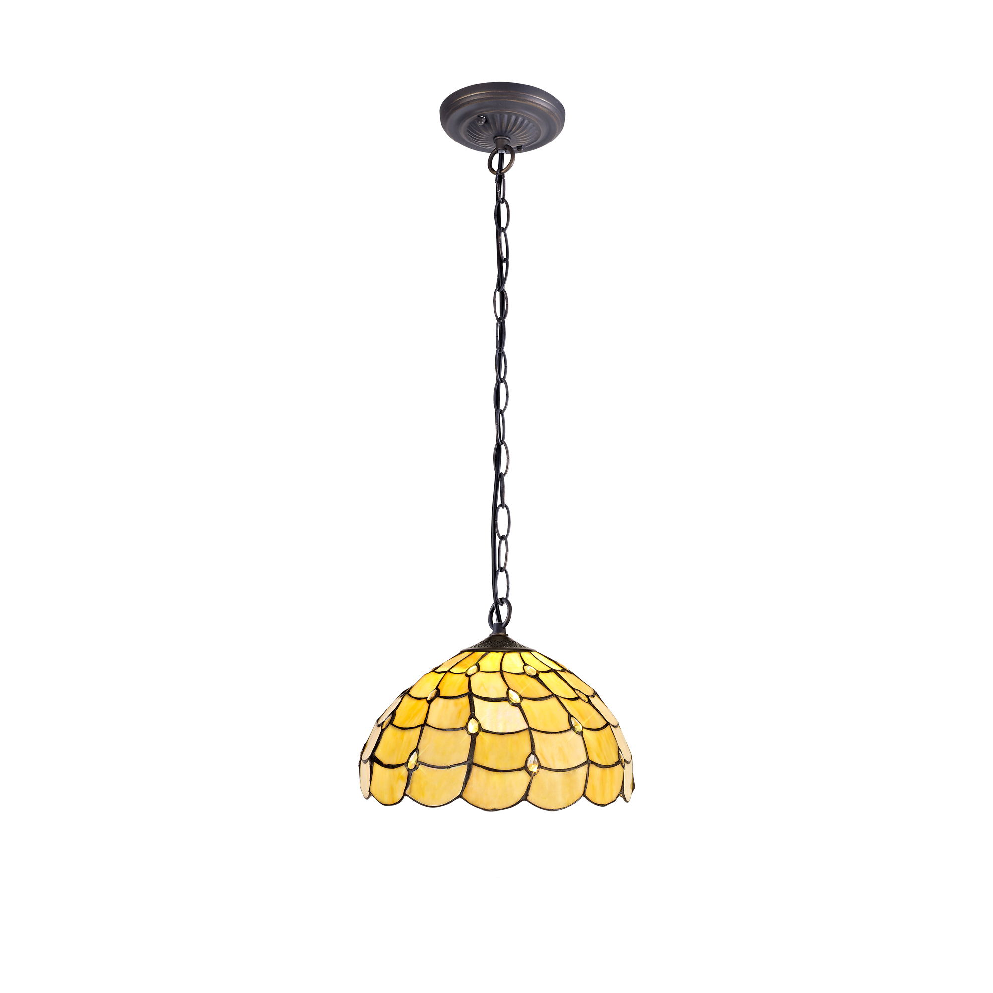 1 Light Downlighter Pendant E27 With 30cm Tiffany Shade, Beige/Clear Crystal/Aged Antique Brass