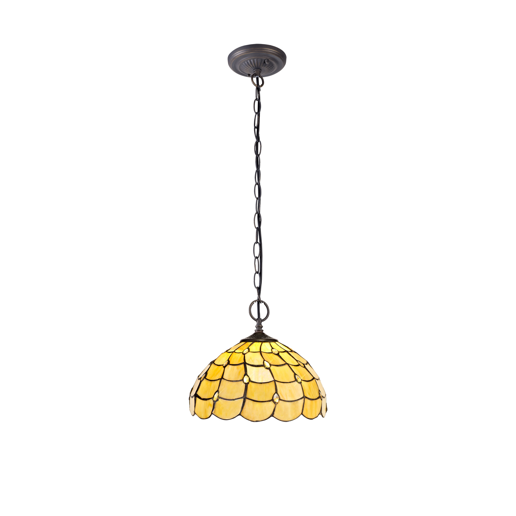 2 Light Downlighter Pendant E27 With 30cm Tiffany Shade, Beige/Clear Crystal/Aged Antique Brass