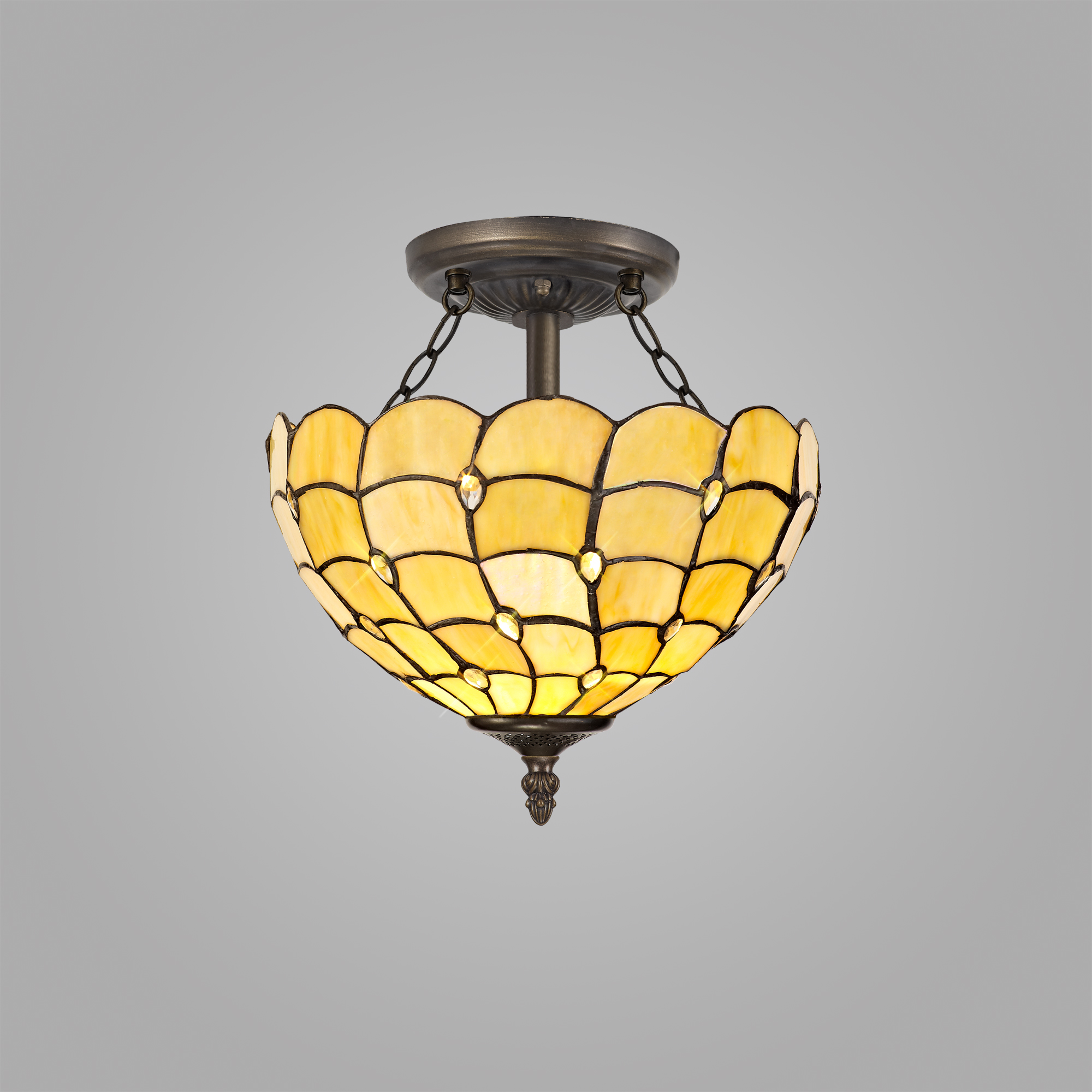 2 Light Semi Ceiling E27 With 30cm Tiffany Shade, Beige/Clear Crystal/Aged Antique Brass