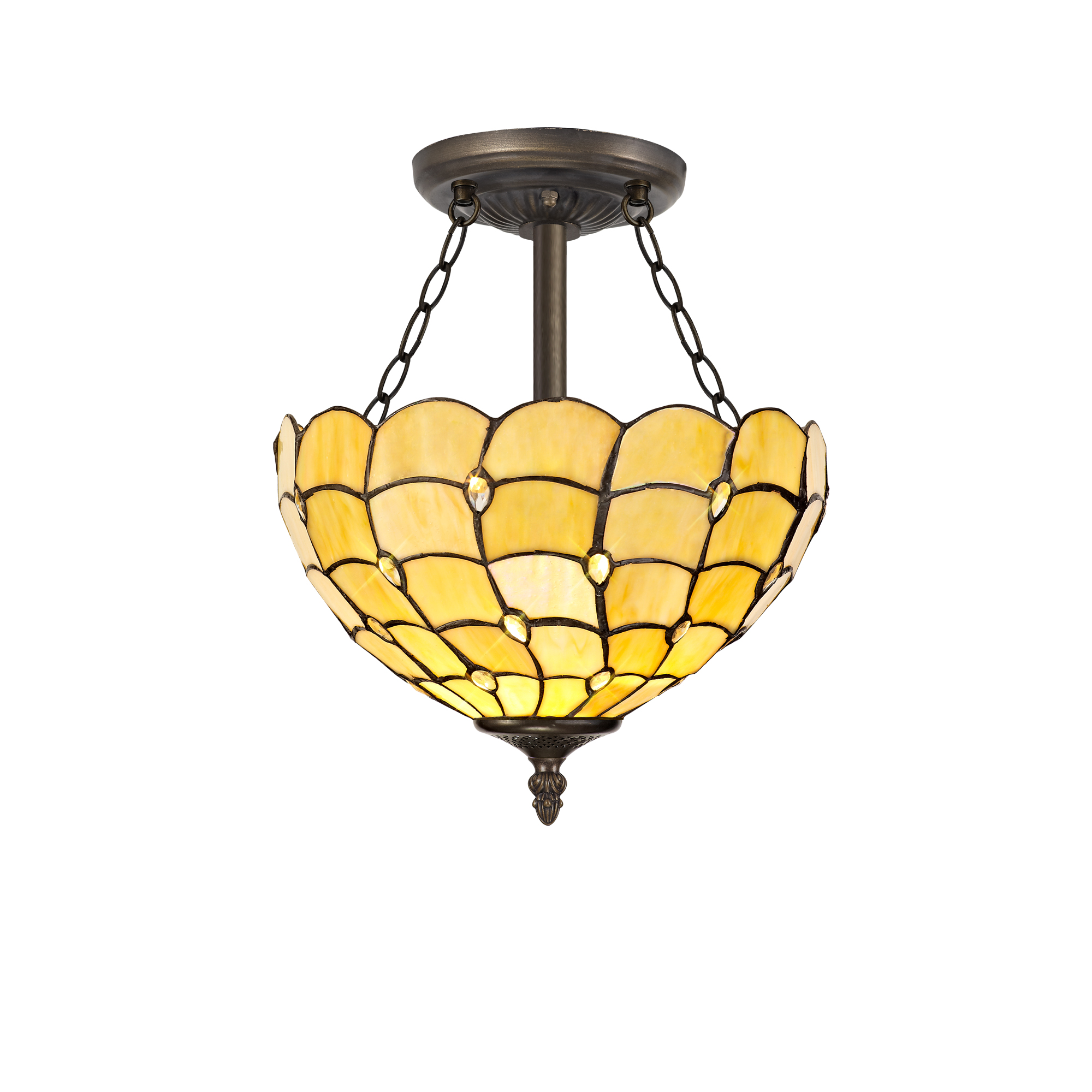 3 Light Semi Ceiling E27 With 30cm Tiffany Shade, Beige/Clear Crystal/Aged Antique Brass