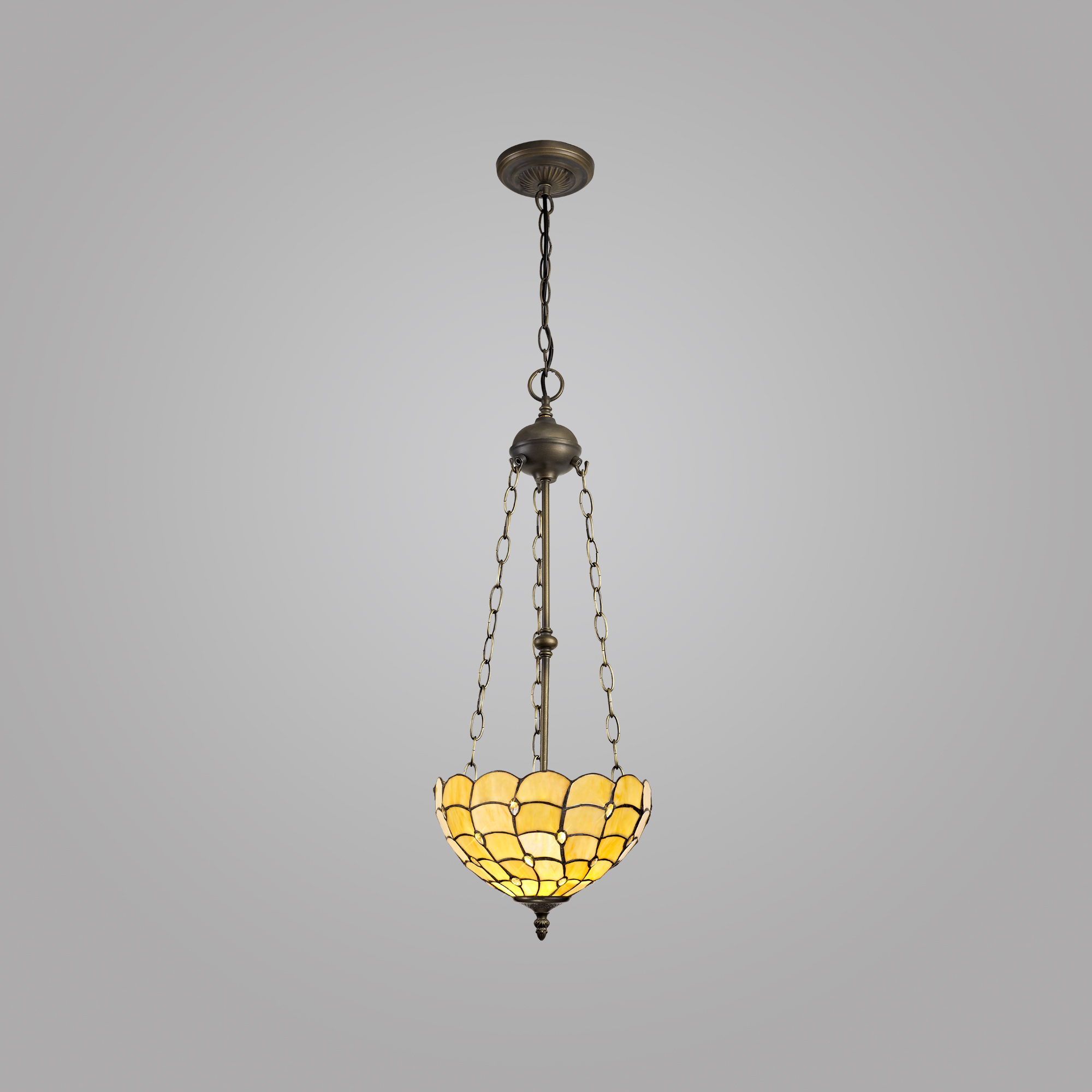 3 Light Uplighter Pendant E27 With 30cm Tiffany Shade, Beige/Clear Crystal/Aged Antique Brass