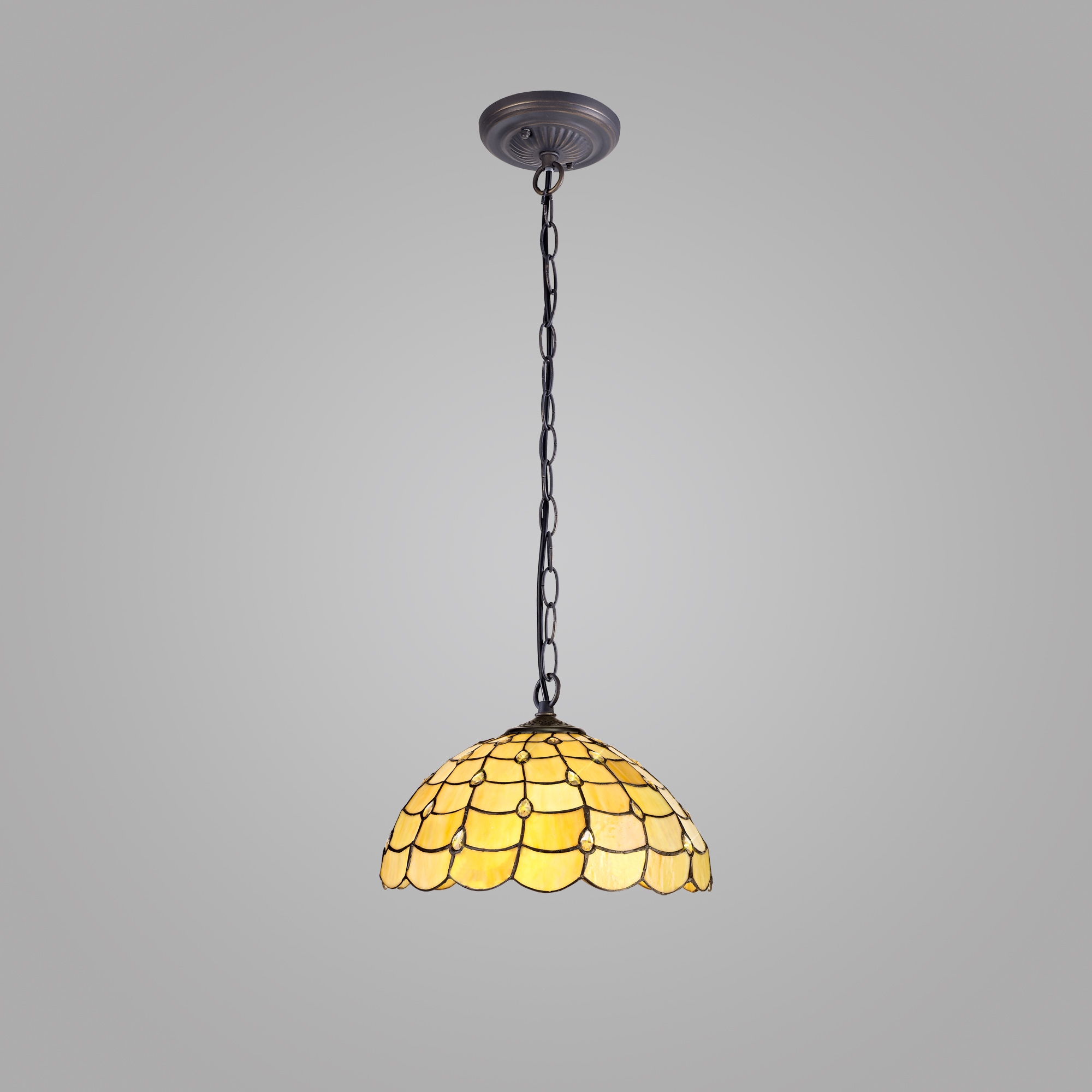 1 Light Downlighter Pendant E27 With 40cm Tiffany Shade, Beige/Clear Crystal/Aged Antique Brass