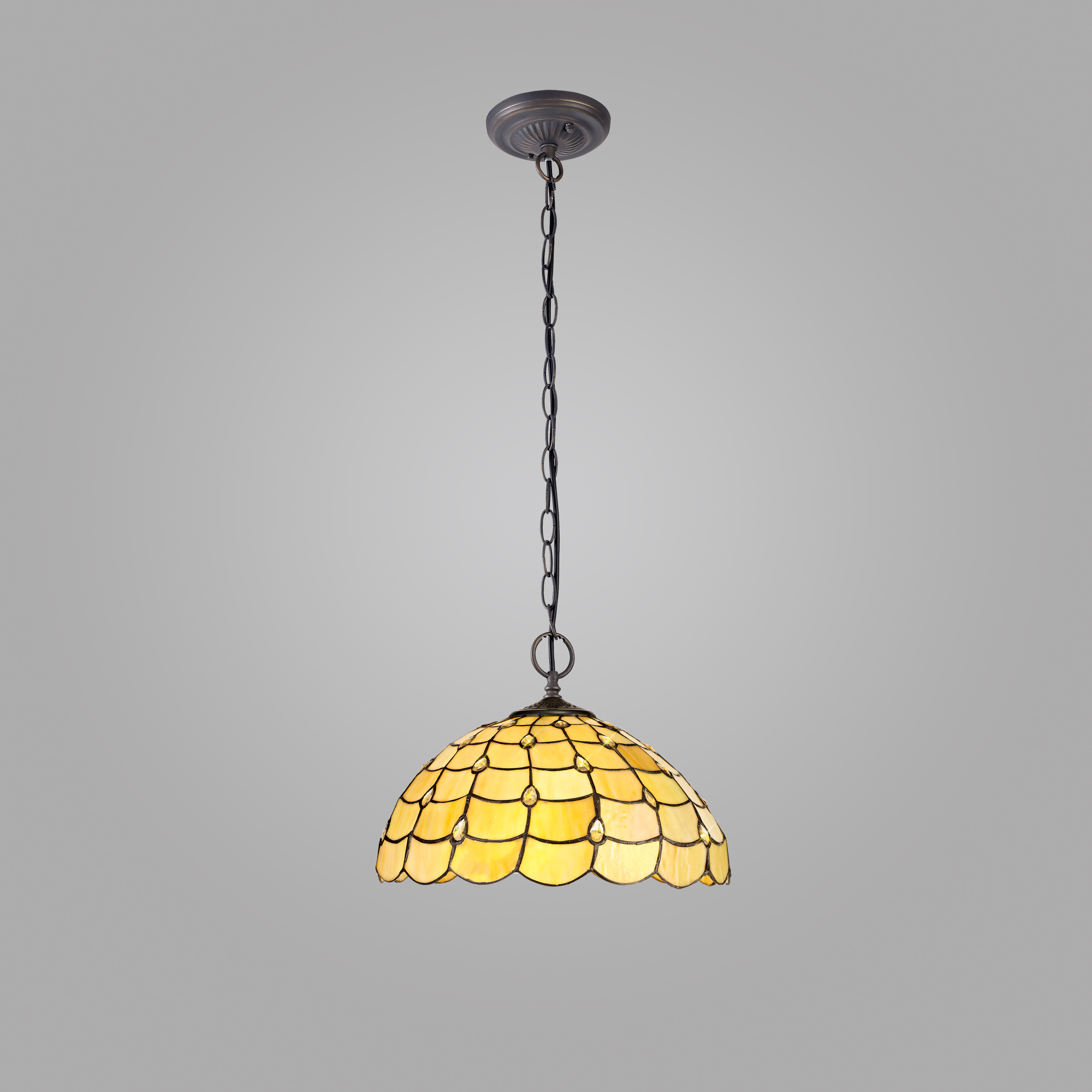 2 Light Downlighter Pendant E27 With 40cm Tiffany Shade, Beige/Clear Crystal/Aged Antique Brass