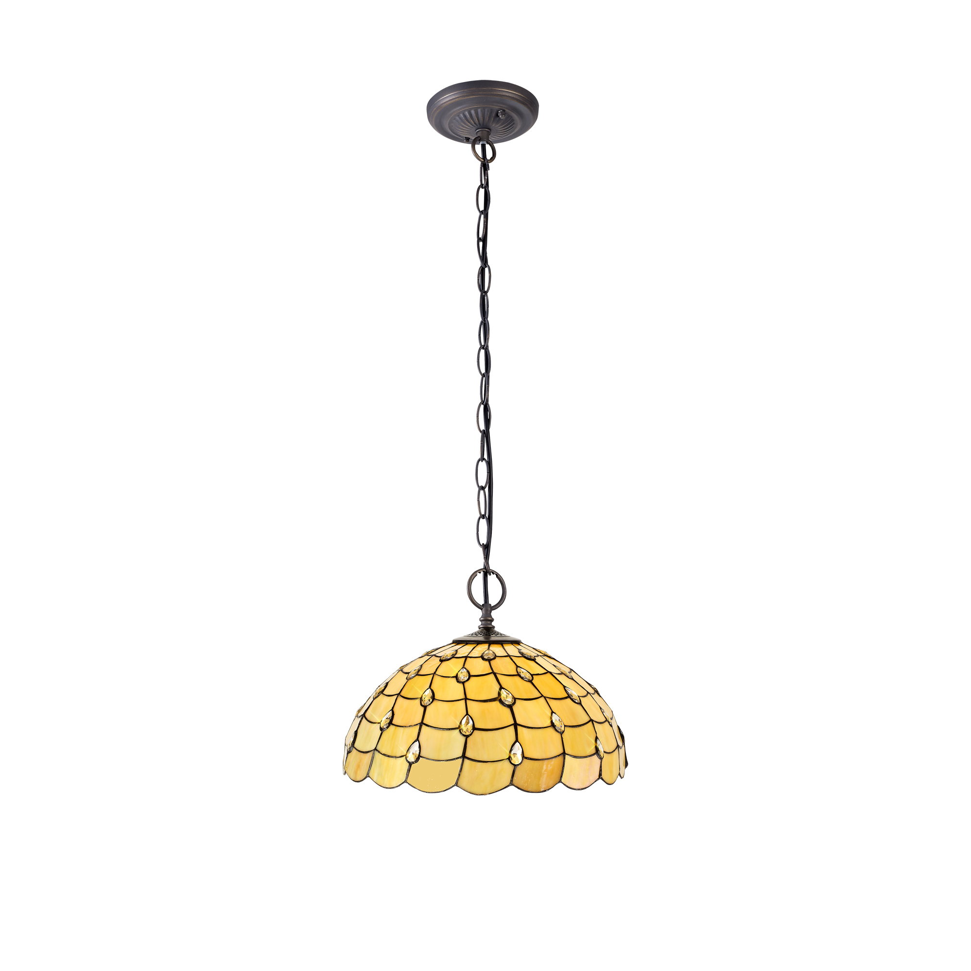 2 Light Downlighter Pendant E27 With 50cm Tiffany Shade, Beige/Clear Crystal/Aged Antique Brass