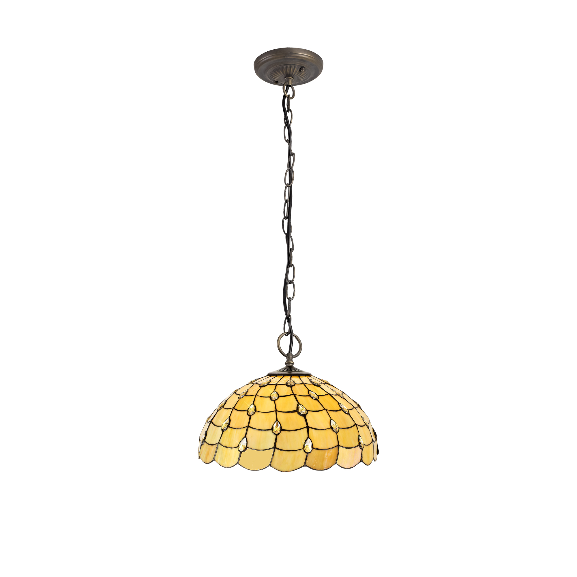 3 Light Downlighter Pendant E27 With 50cm Tiffany Shade, Beige/Clear Crystal/Aged Antique Brass