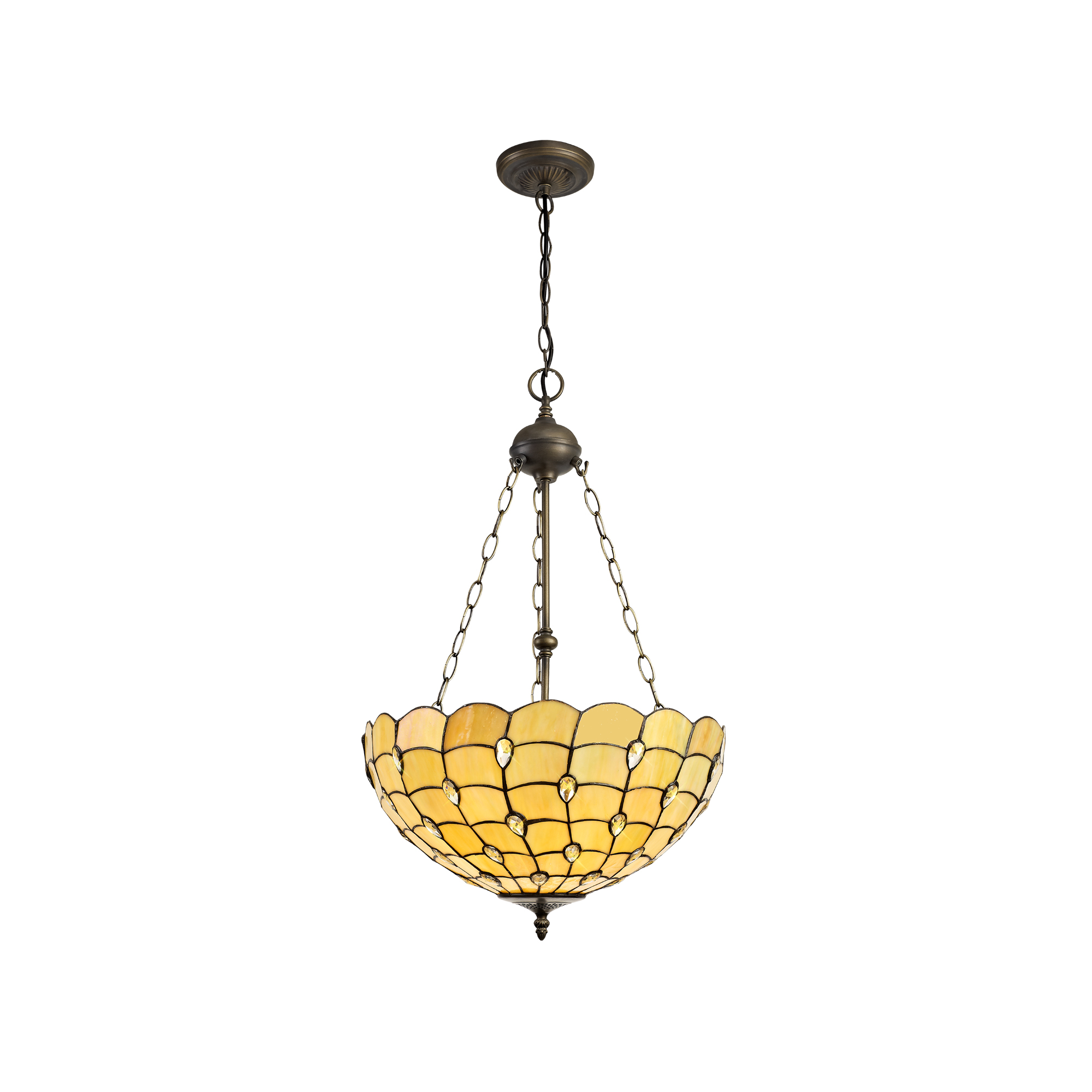 3 Light Uplighter Pendant E27 With 50cm Tiffany Shade, Beige/Clear Crystal/Aged Antique Brass