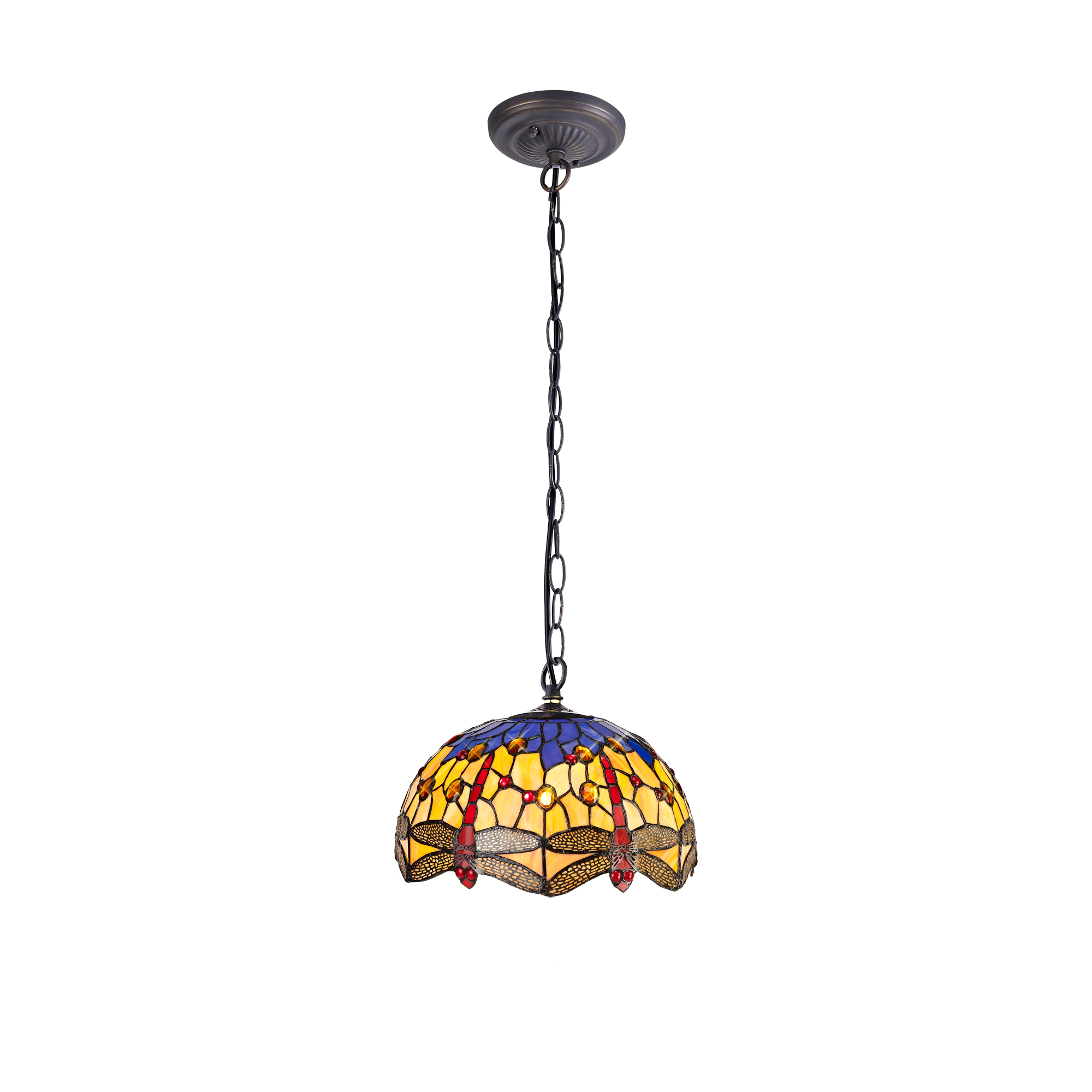 1 Light Downlighter Pendant E27 With 30cm Tiffany Shade