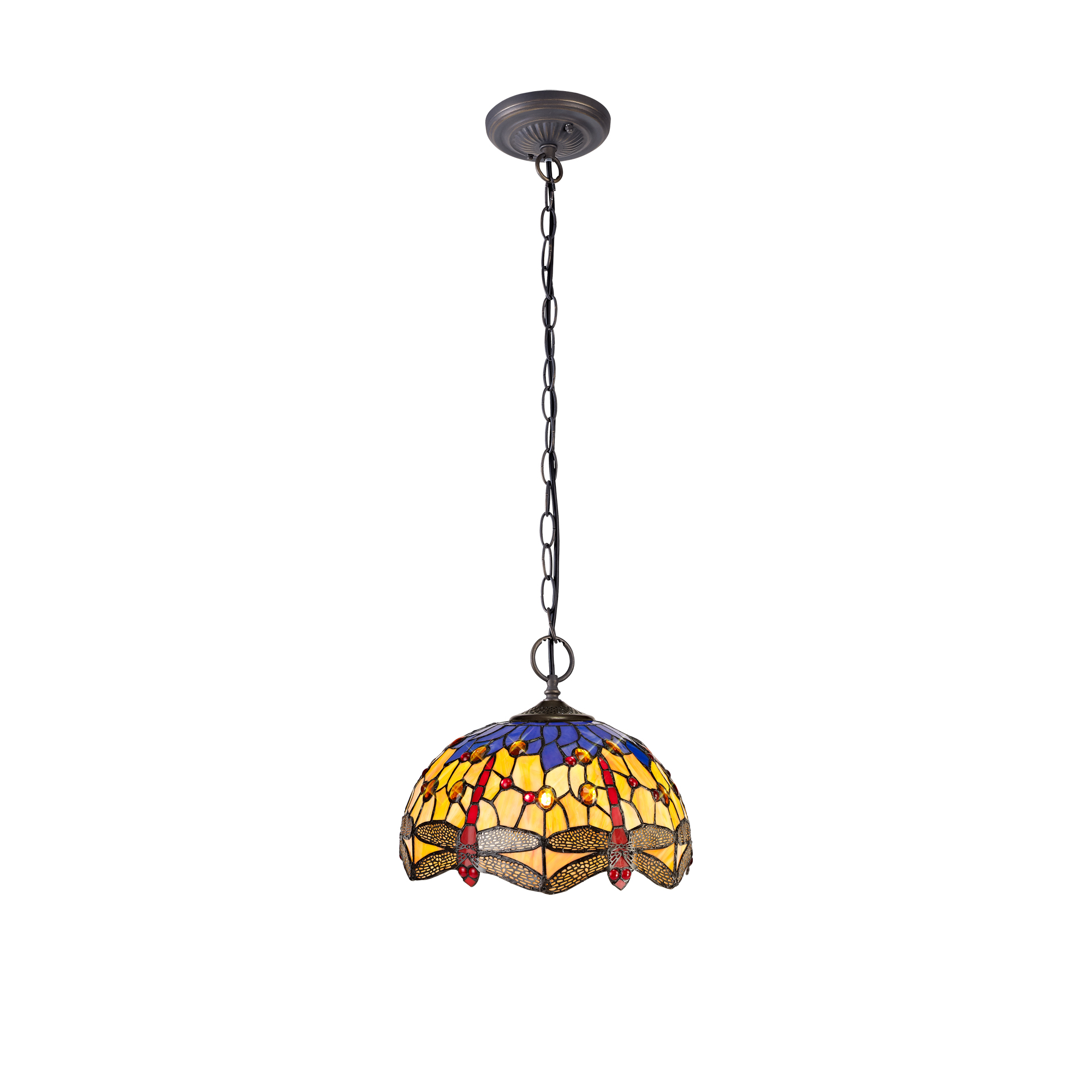 2 Light Downlighter Pendant E27 With 30cm Tiffany Shade
