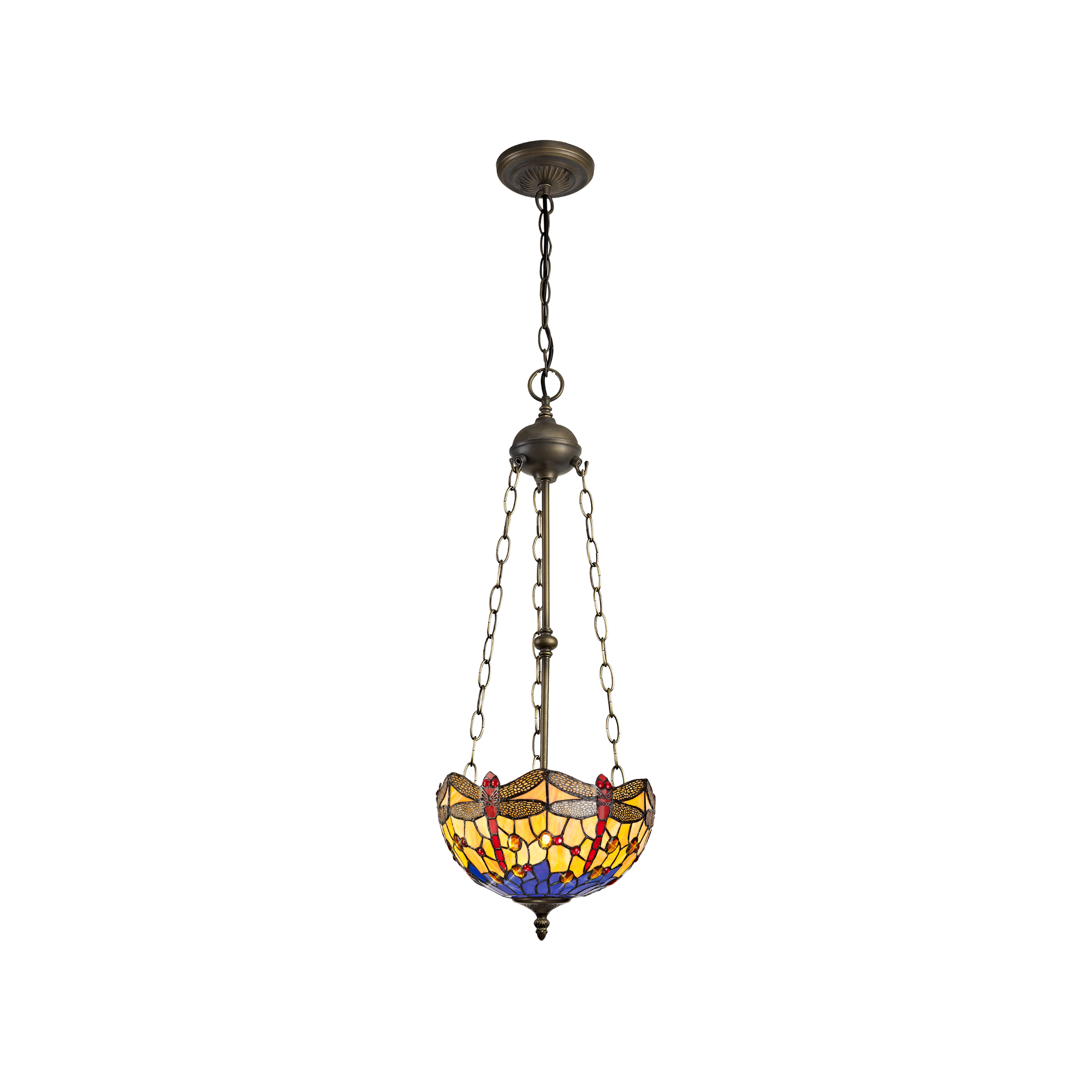 3 Light Uplighter Pendant E27 With 30cm Tiffany Shade