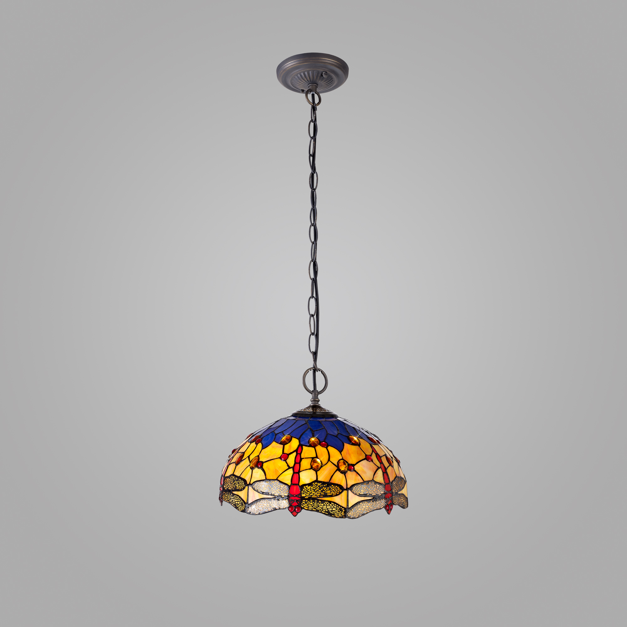 2 Light Downlighter Pendant E27 With 40cm Tiffany Shade
