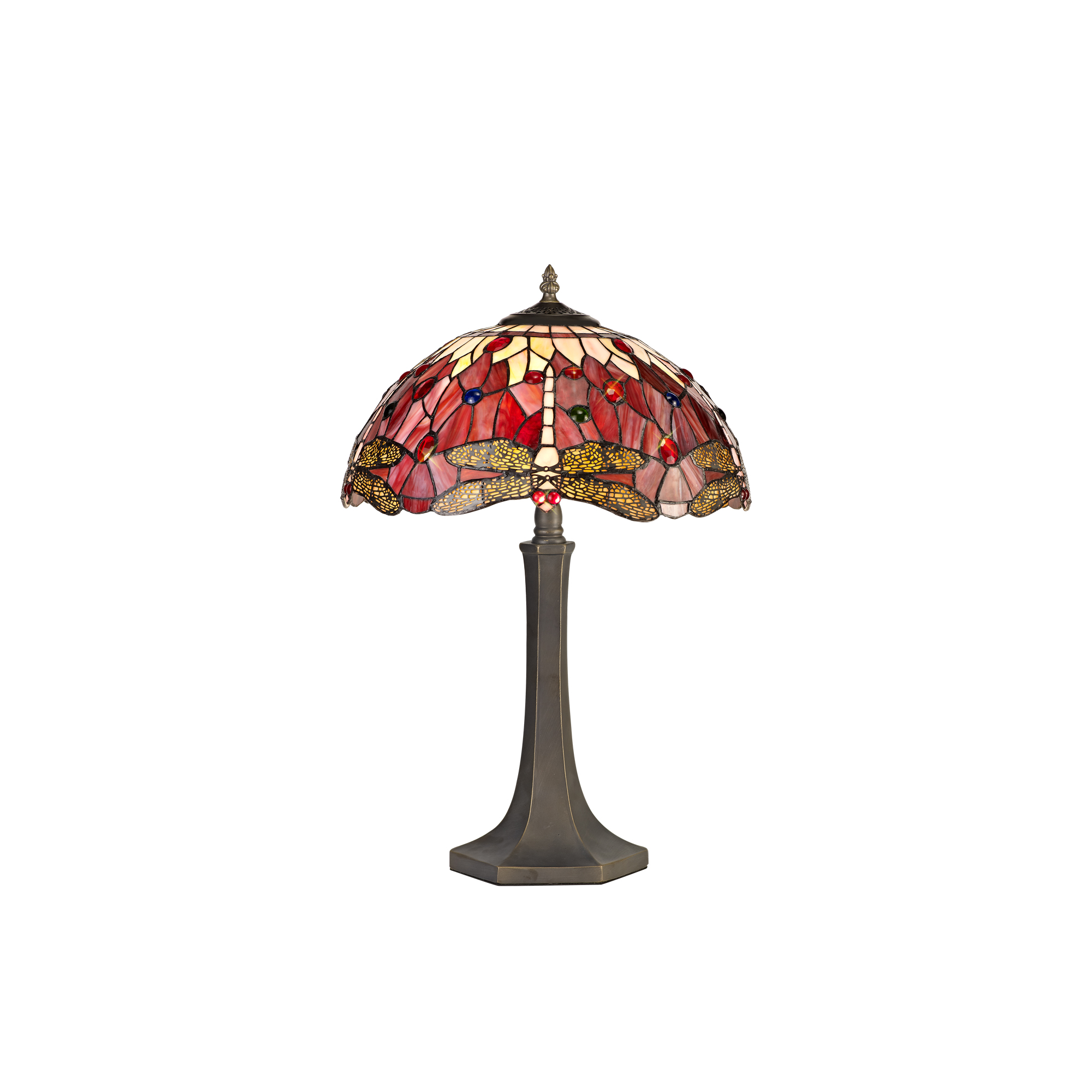 2 Light Octagonal Table Lamp E27 With 40cm Tiffany Shade