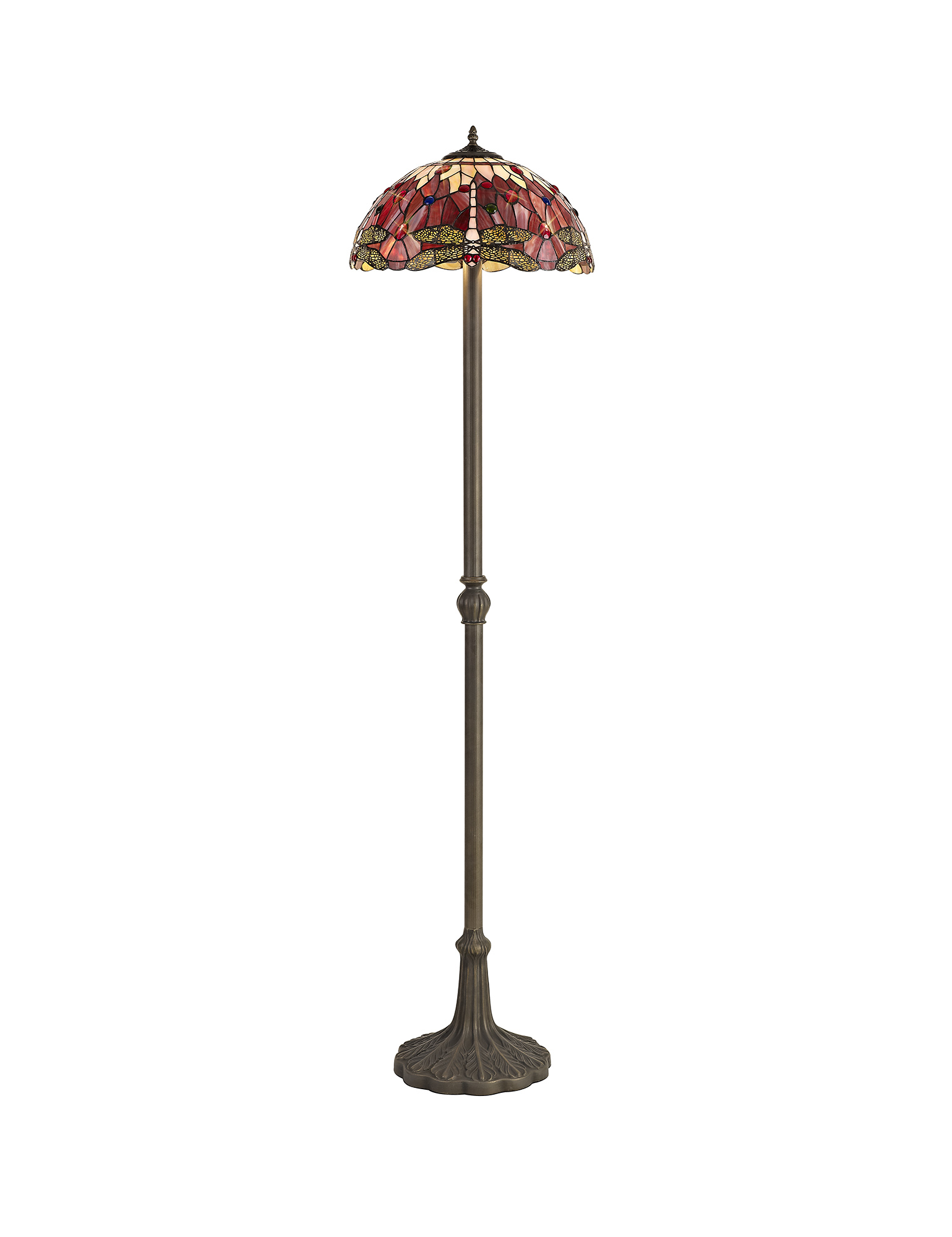 2 Light Leaf Design Floor Lamp E27 With 40cm Tiffany Shade