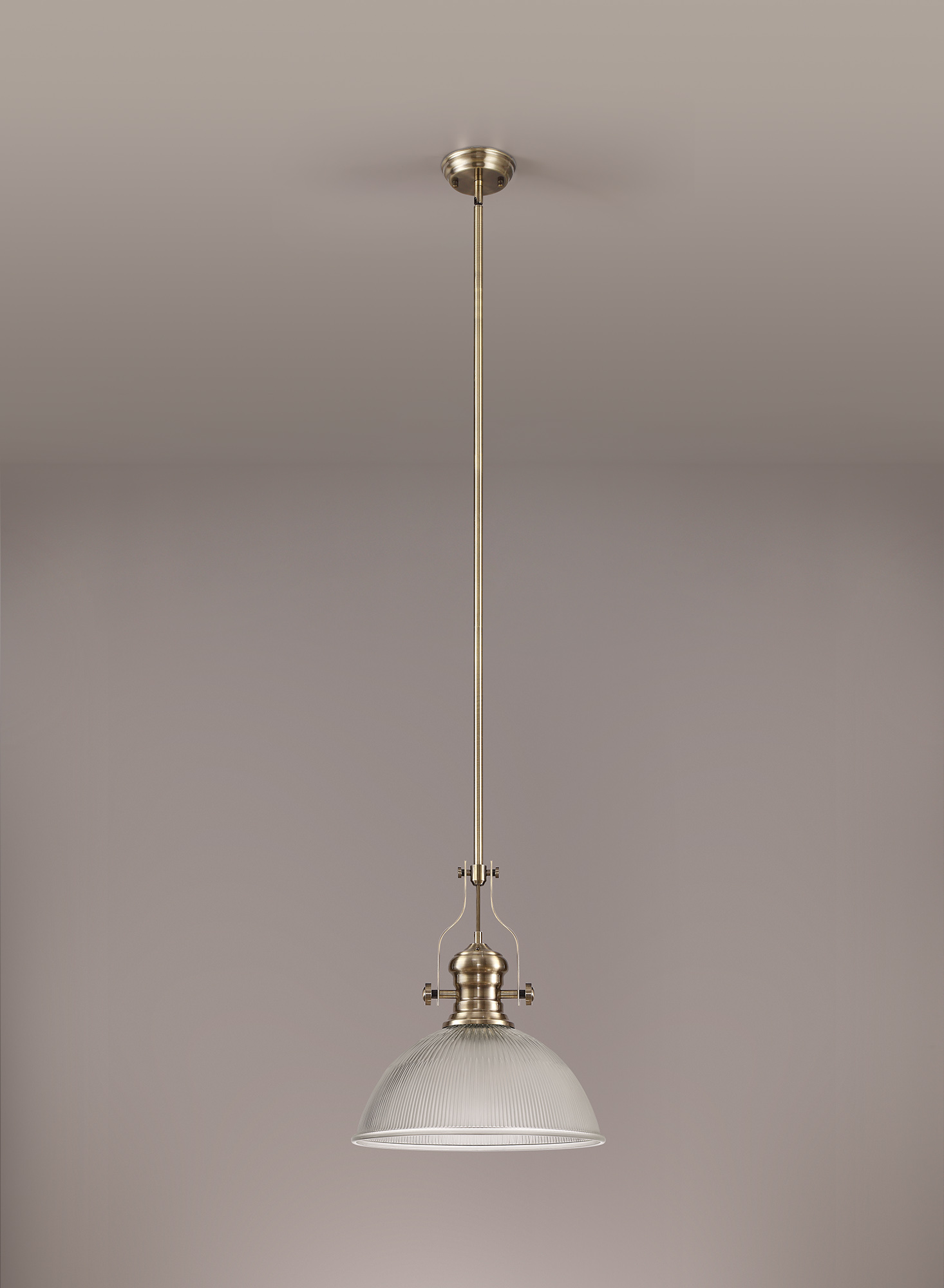 1 Light Pendant E27 With 38cm Dome Glass Shade
