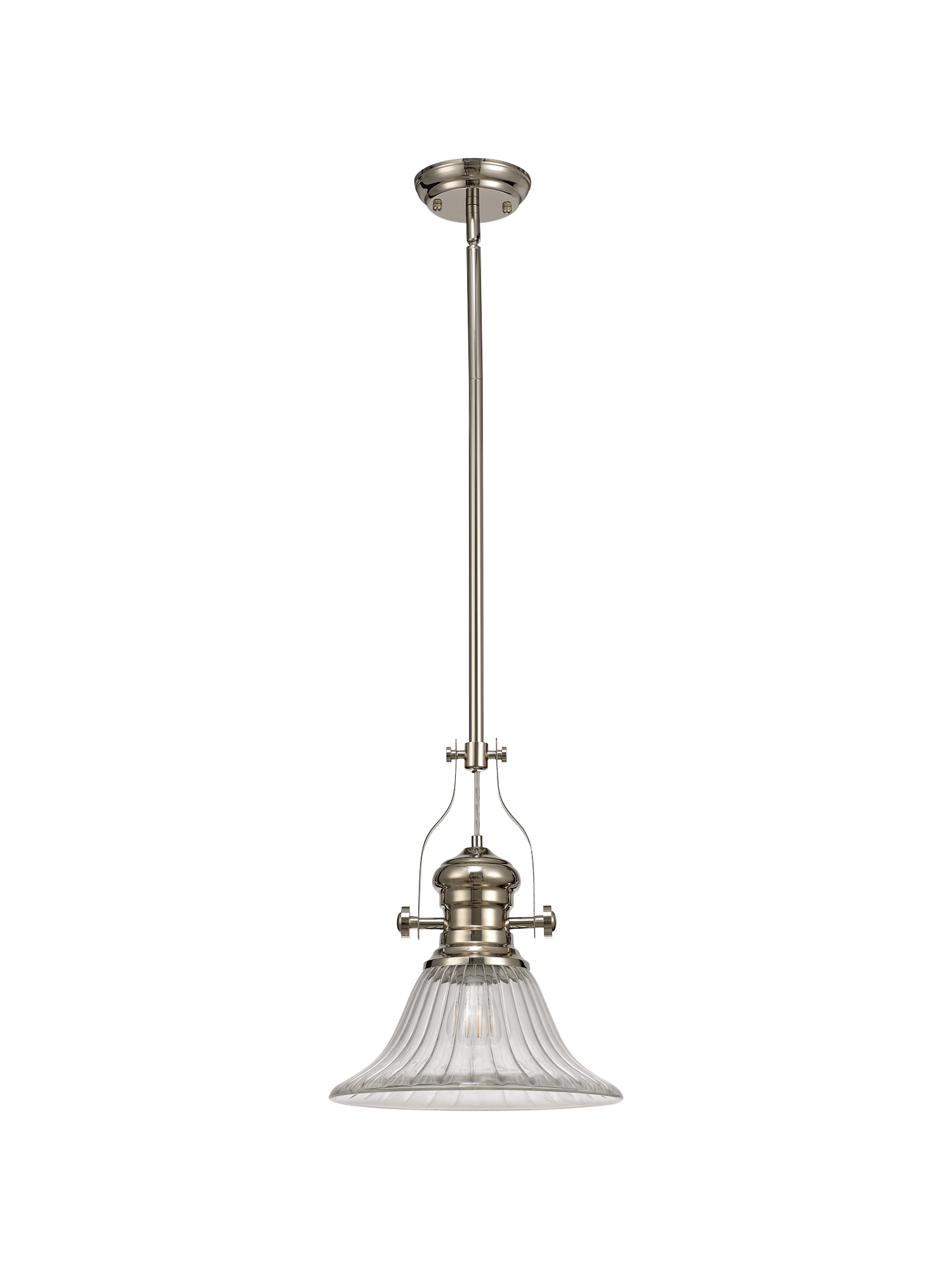 1 Light Pendant E27 With 30cm Bell Glass Shade