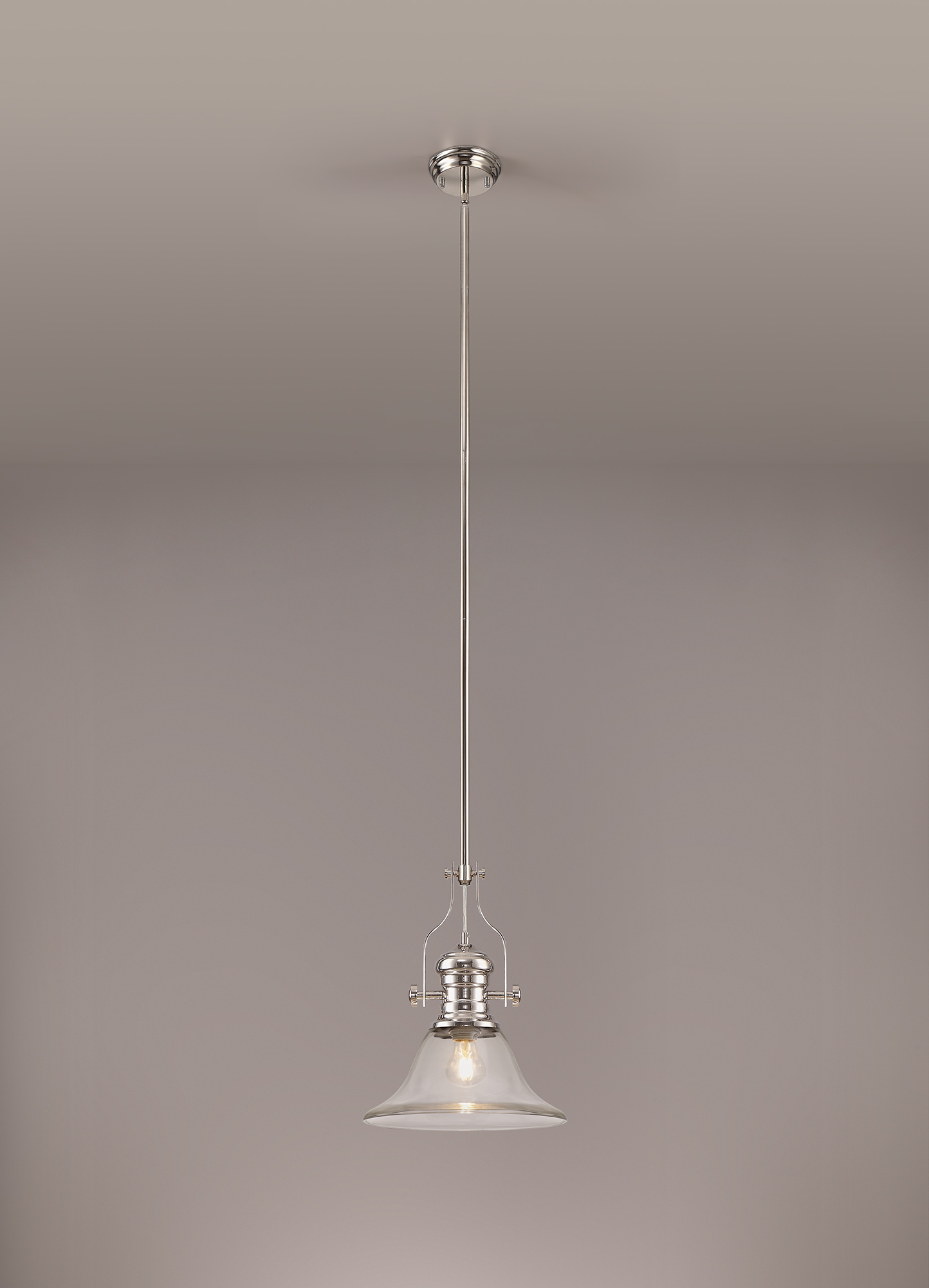 1 Light Pendant E27 With 30cm Smooth Bell Glass Shade