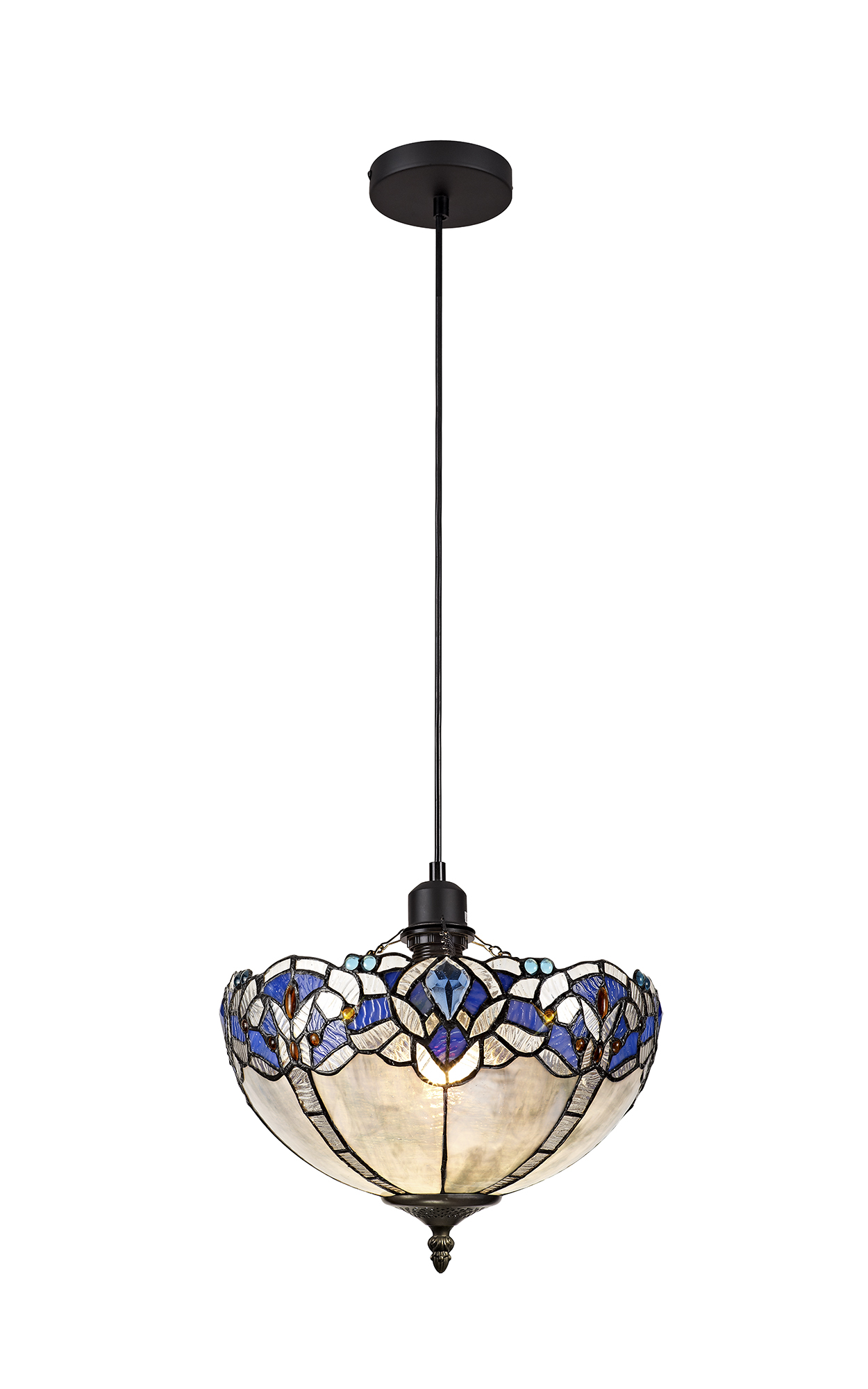 1 Light Uplighter Pendant E27 With 30cm Tiffany Shade, Blue/Clear Crystal/Black