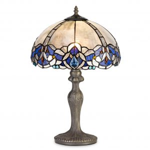 1 Light Curved Table Lamp E27 With 30cm Tiffany Shade, Blue/Clear Crystal/Aged Antique Brass